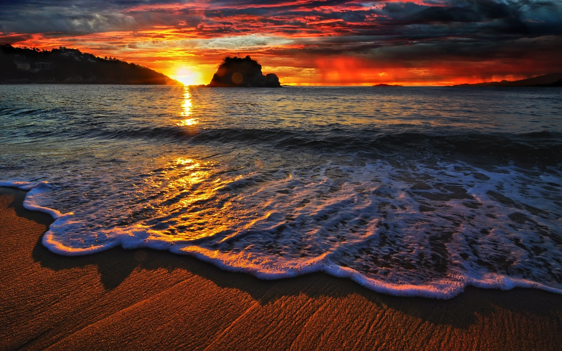 Res: 1920x1200, ... Cool Beach Sunset Photos and Pictures, Beach Sunset HD Wallpapers ...