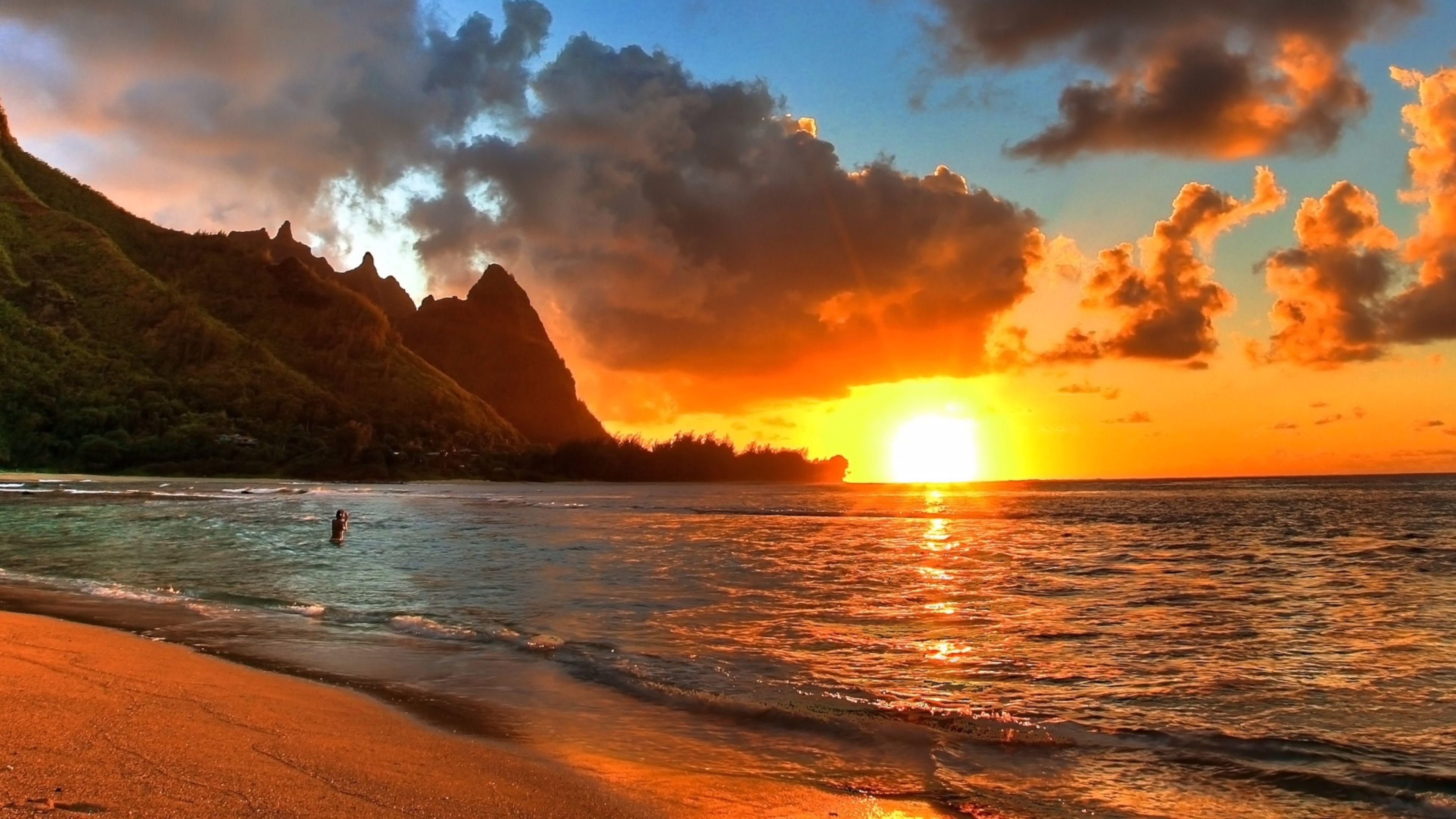 Res: 3840x2160, Romantic Beach Sunset Wallpaper Desktop Background On Wallpaper Hd 3840 x  2160 px 2.43 MB ocean