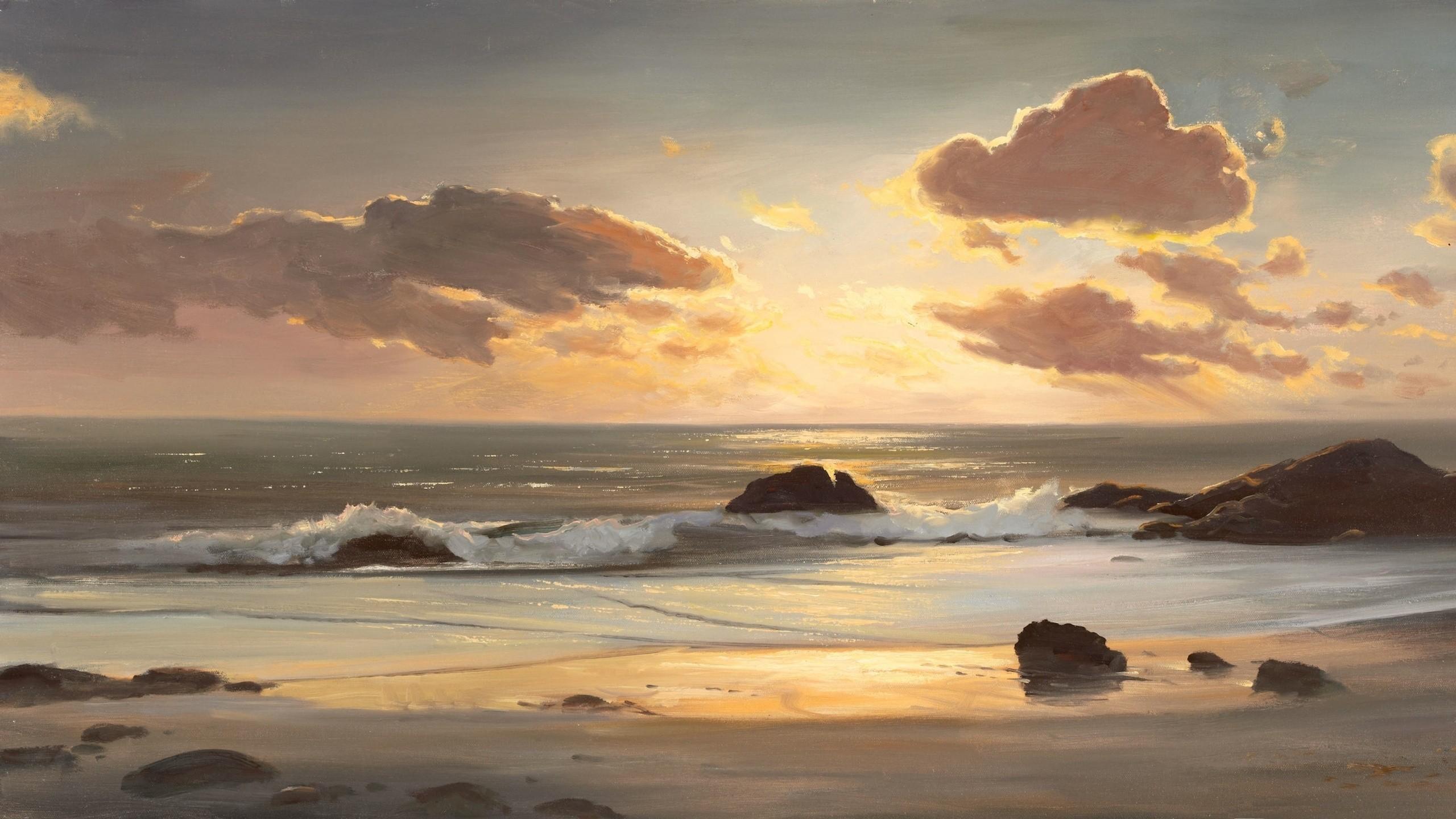Res: 2560x1440, Twilight beach sunset wallpaper
