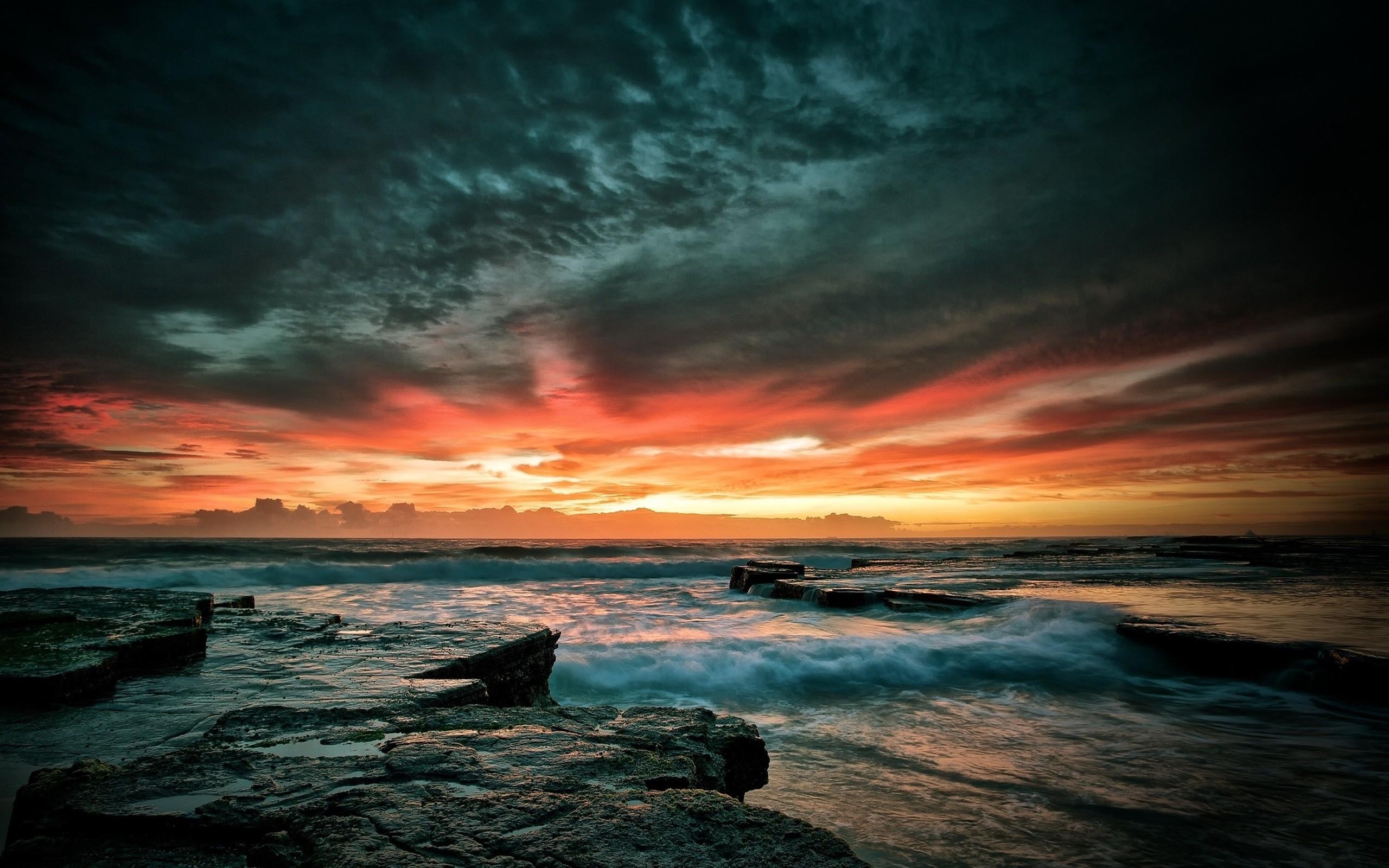 Res: 2560x1600, Beautiful Beach Sunset Wallpaper 1