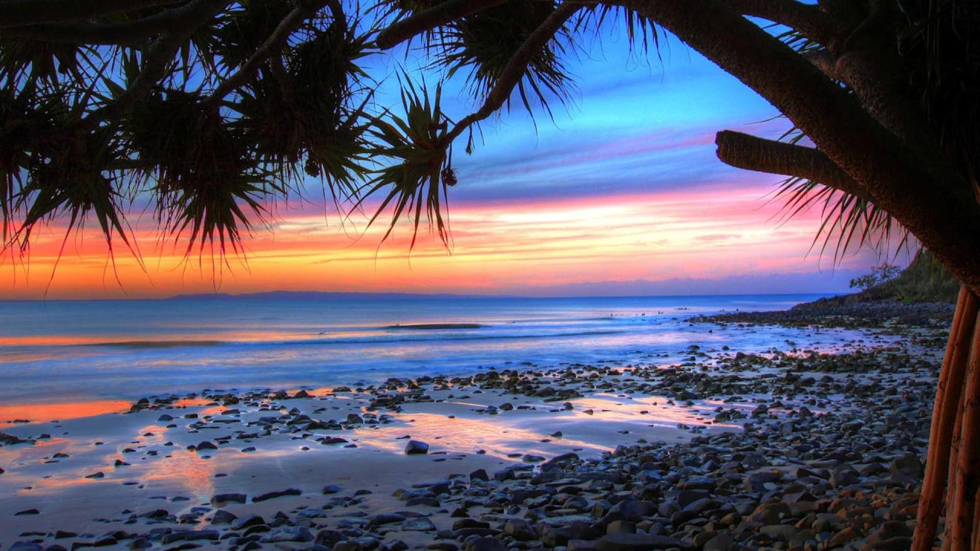 Res: 1920x1080, Beautiful Beach Sunset Wallpapers Wide : Beach Wallpaper - Petsprin