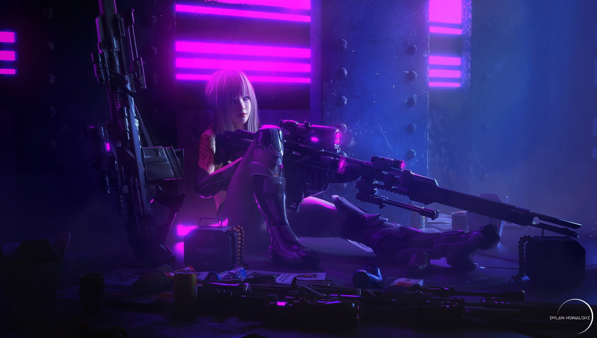 Res: 1920x1088, cyberpunk, artwork, sniper rifle, anime girls, music, arts culture and  entertainment