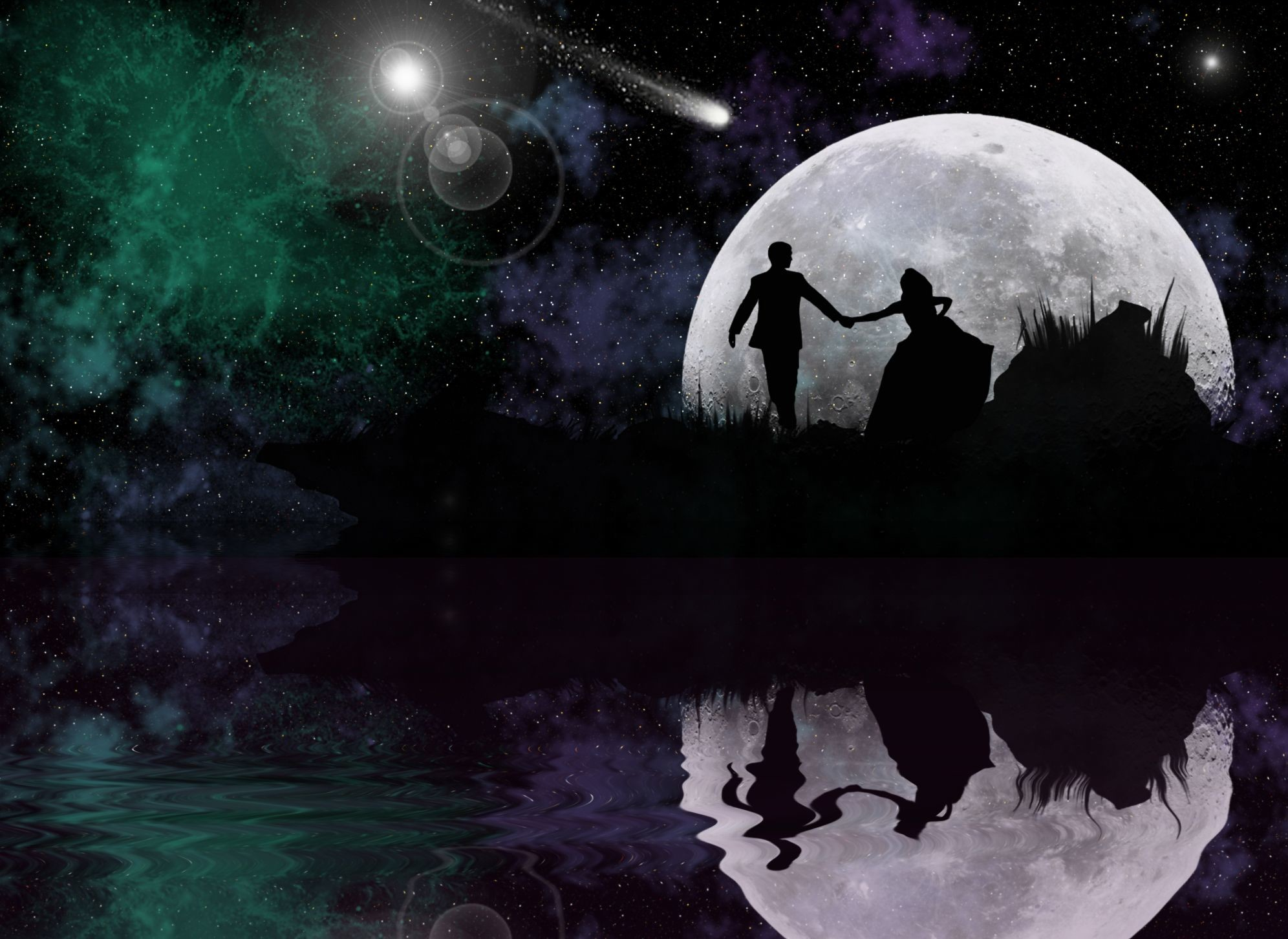 Res: 1992x1452, HD The Magic Of Love Wallpaper, couples, love, fantasy, moon, night,3D &  Abstract, entertainment