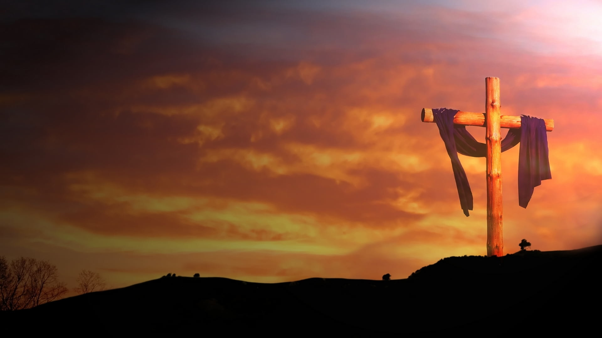 Res: 1920x1080, crucifix on top of hill HD wallpaper