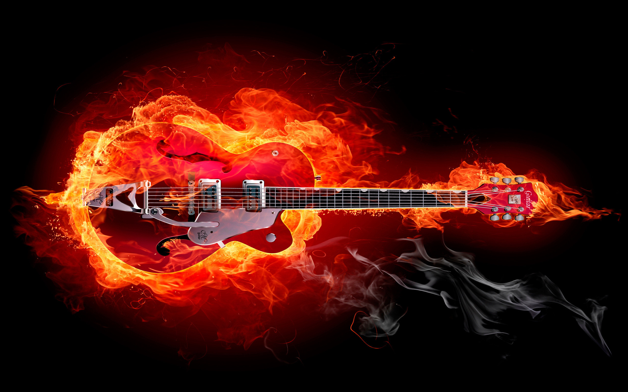 Res: 2560x1600, fire, guitar, smoke, electric guitar, musical instrument