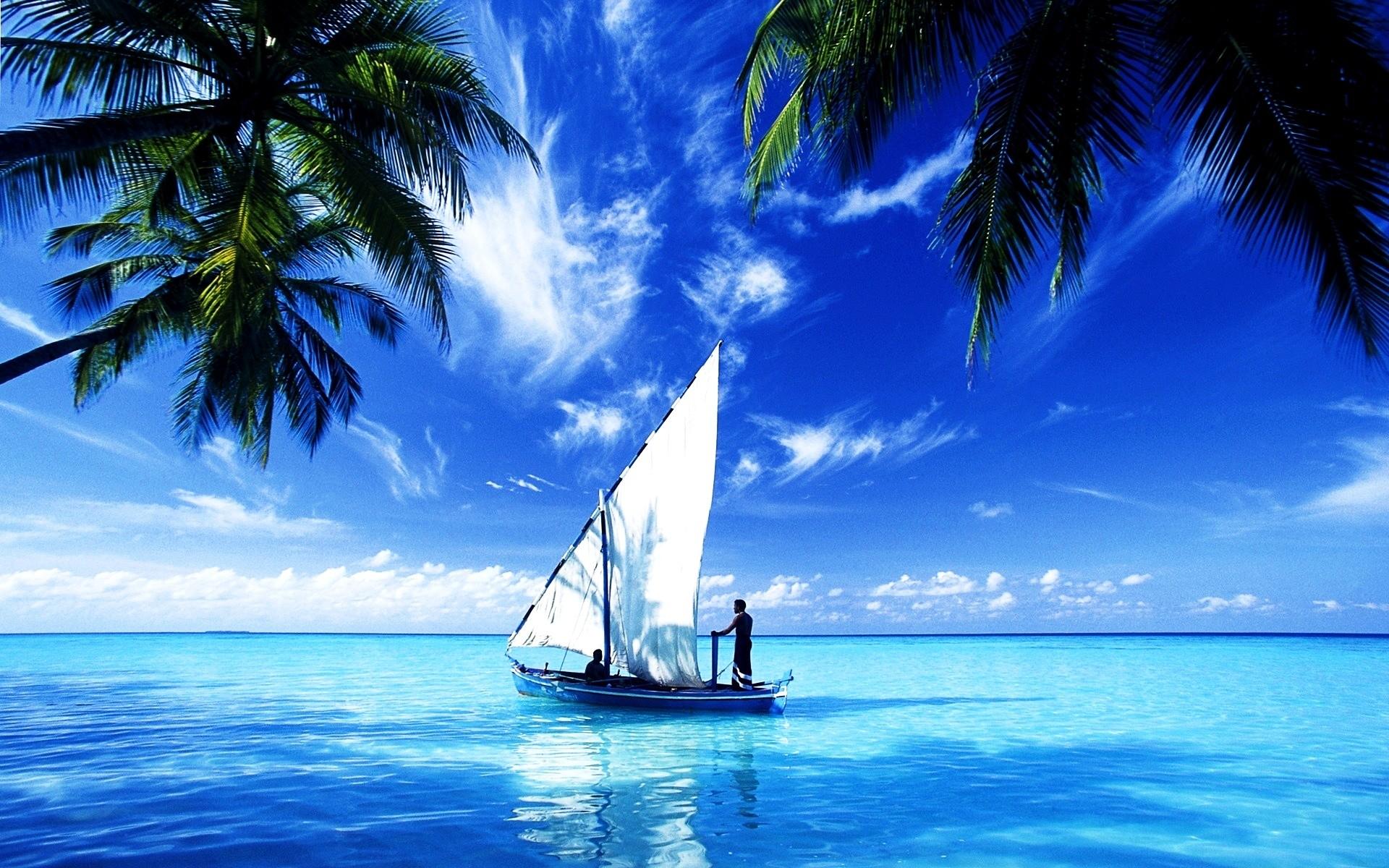 Res: 1920x1200, Ocean Scene Wallpaper Sail Boat.