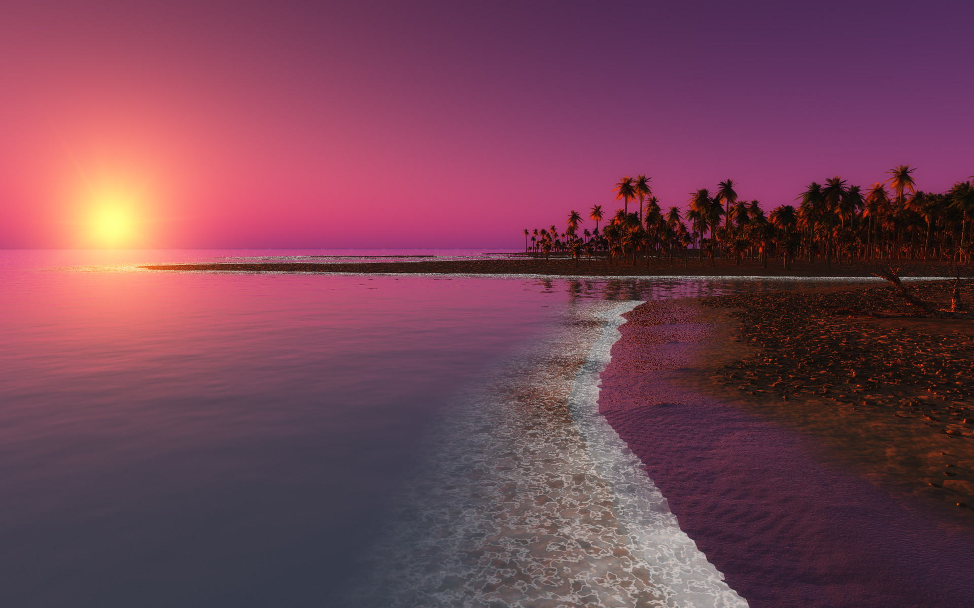 Res: 1920x1200, Red Sunset over the Ocean, Desktop Wallpaper