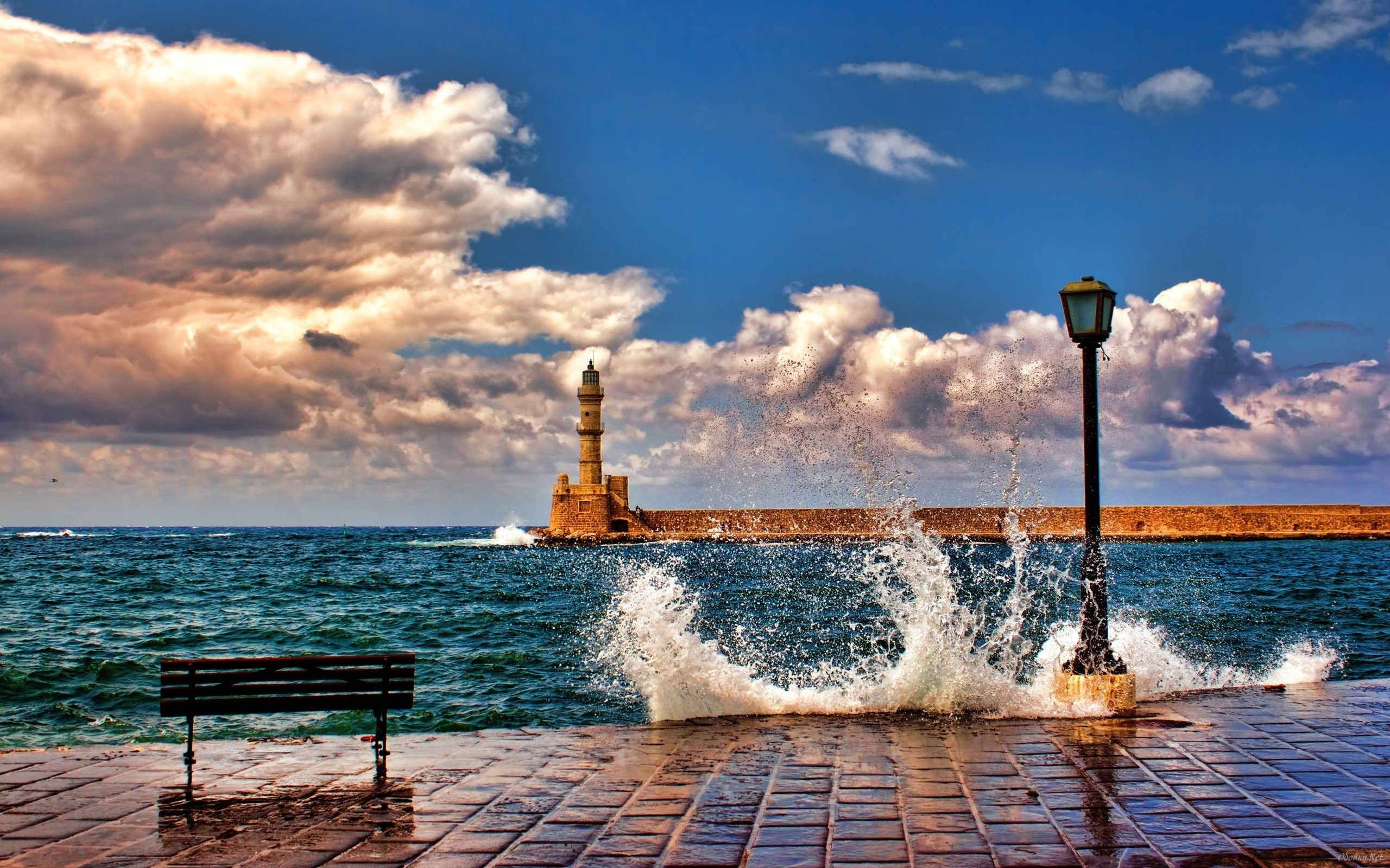 Res: 2560x1600, City embankment and the sea HD Desktop Wallpaper
