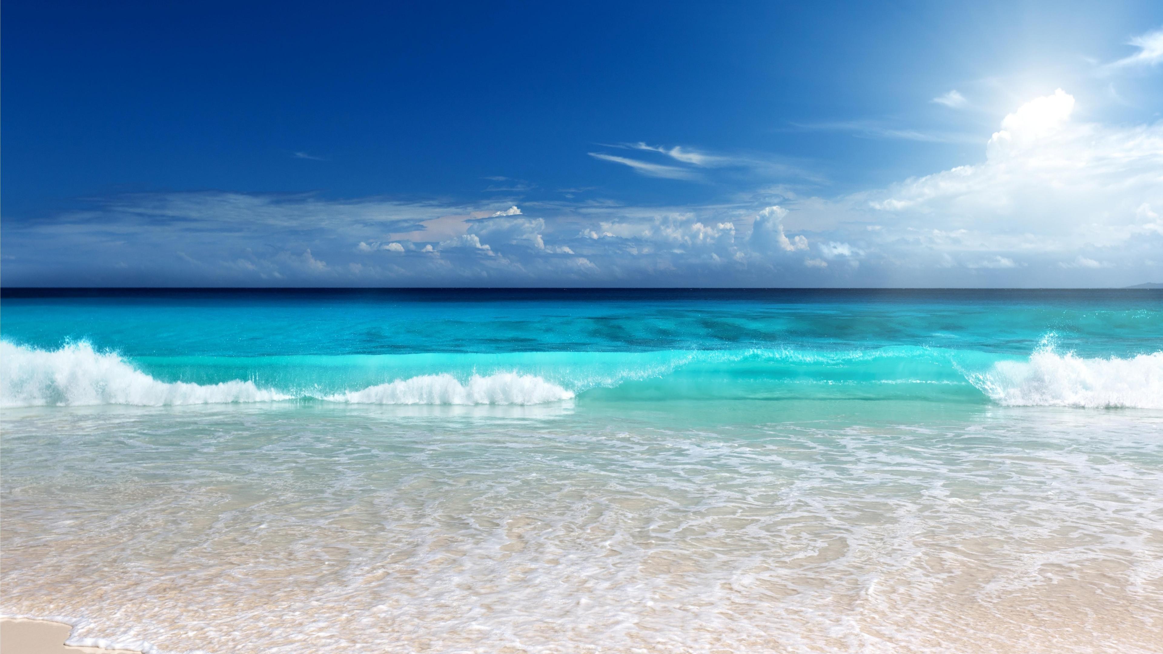 Res: 3840x2160,  Blue Sea Beach 4K Wallpaper HD Wallpapers