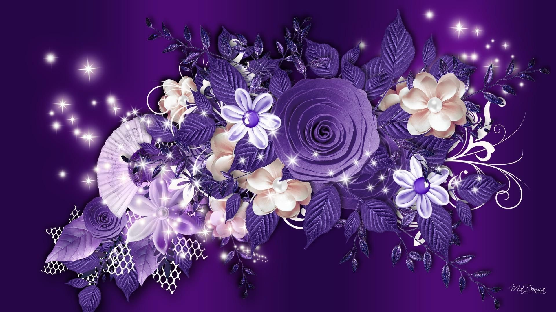 Res: 1920x1080, Purple Rose Wallpaper | Purple roses and other flowers on a purple  background wallpapers and .
