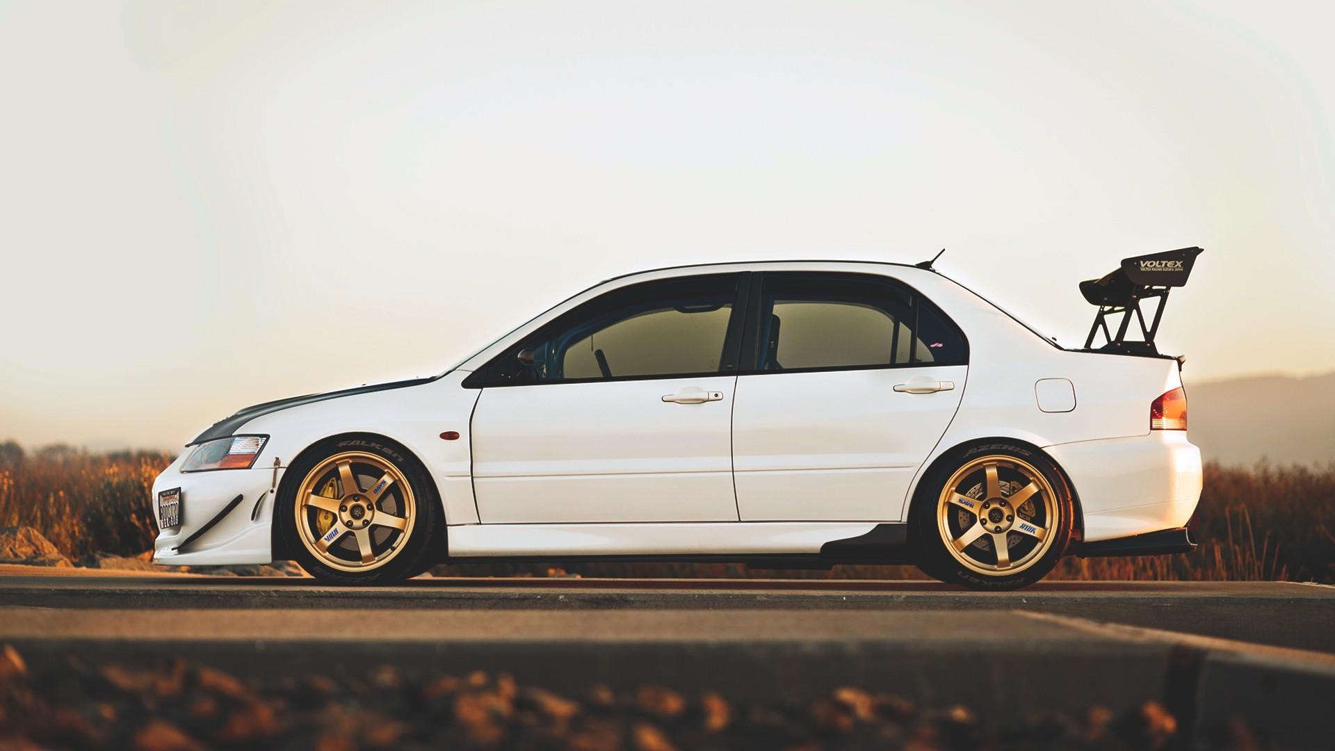 Res: 1920x1080, #tuning, #white cars, #vehicle, #Mitsubishi Lancer EVO, #evolution, #car,  wallpaper