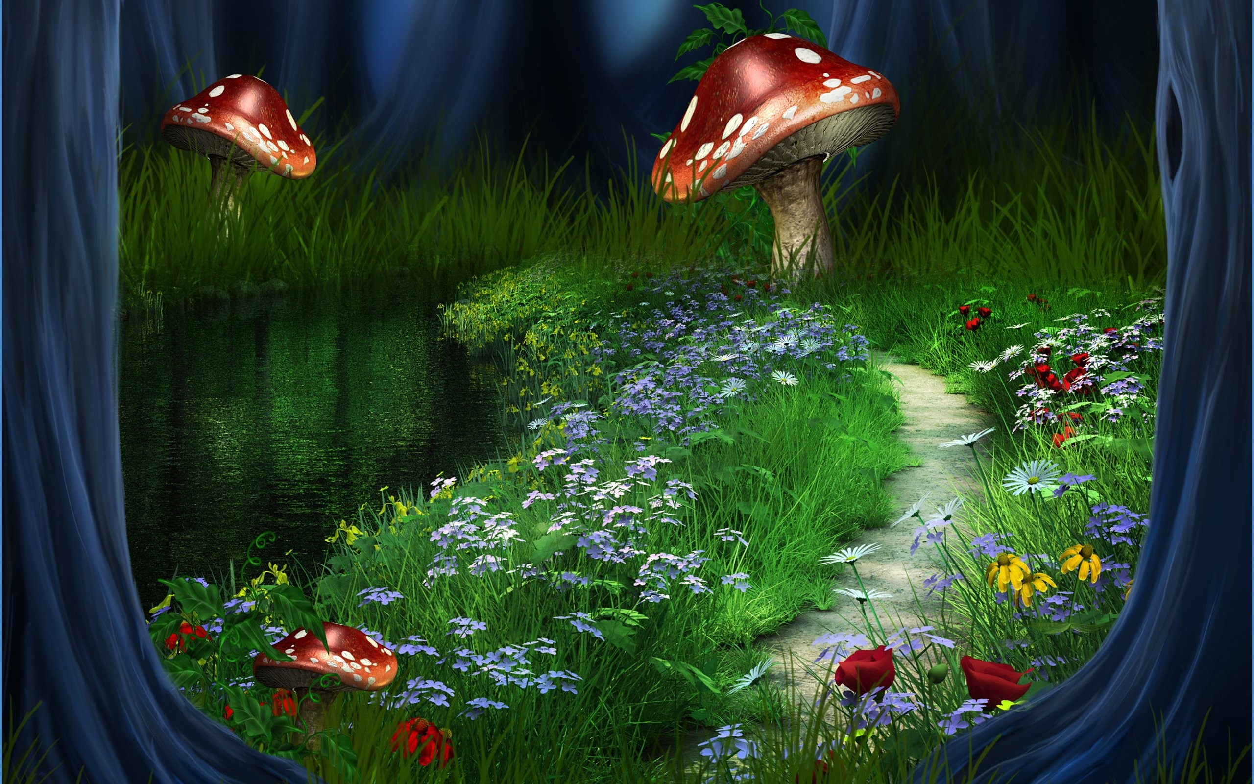 Res: 2560x1600, 3d, River, Forest, Landscape, Nature, Path, Flowers Wallpapers HD / Desktop  and Mobile Backgrounds
