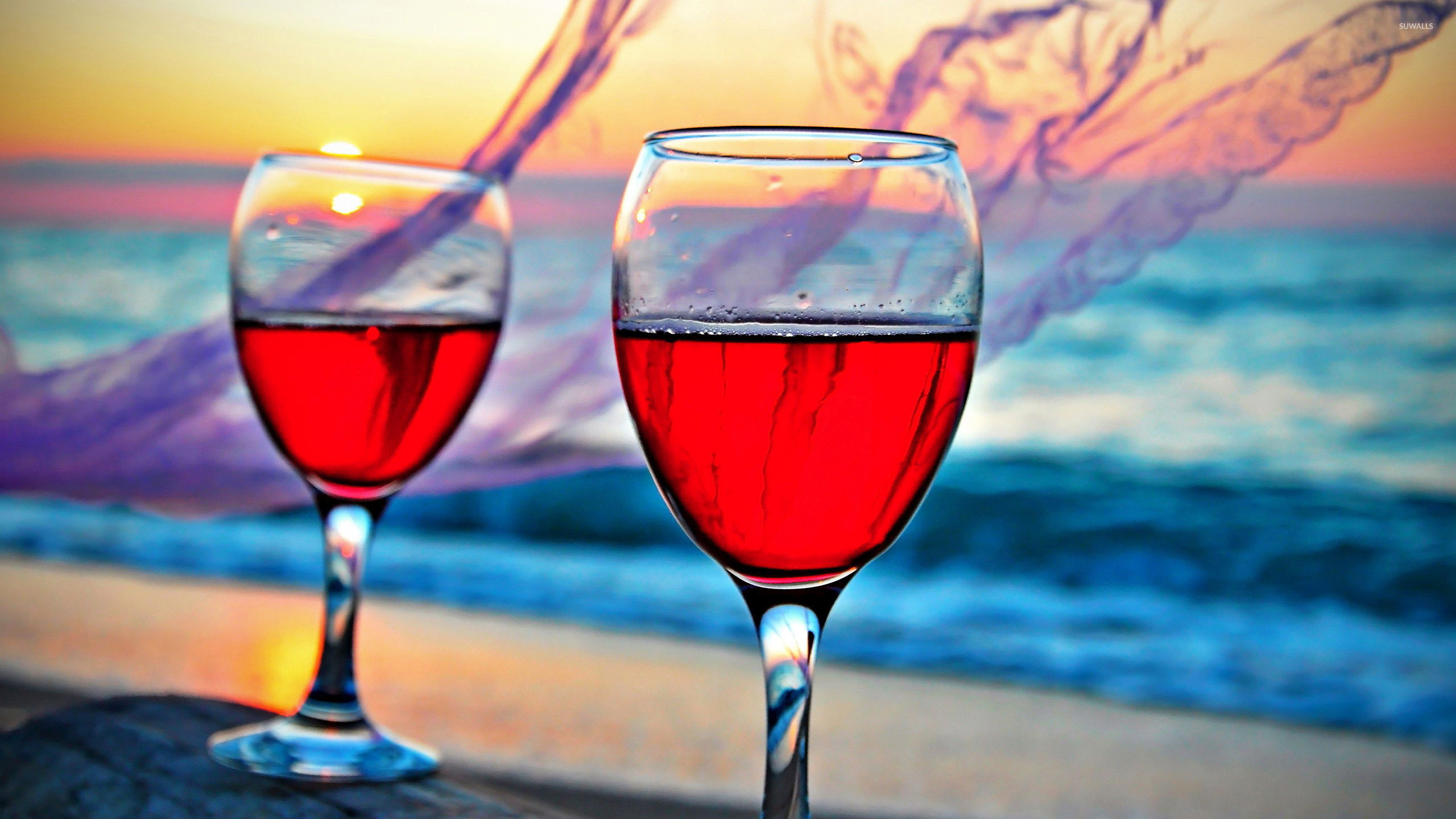 Res: 2560x1440, Rose wine in the glasses wallpaper
