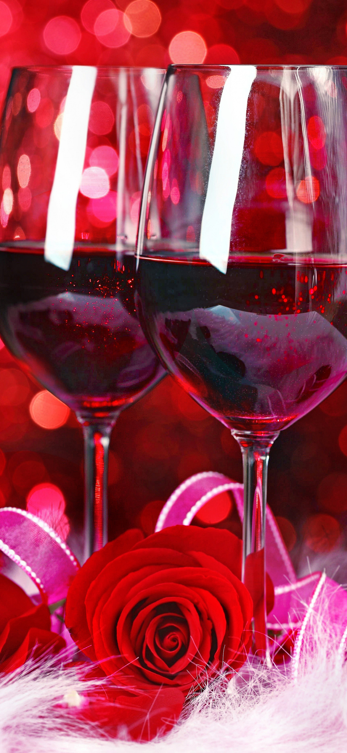 Res: 1125x2436, Wine Glass, Christmas Decoration, Red Wine, Petal, Glass Wallpaper in   Resolution