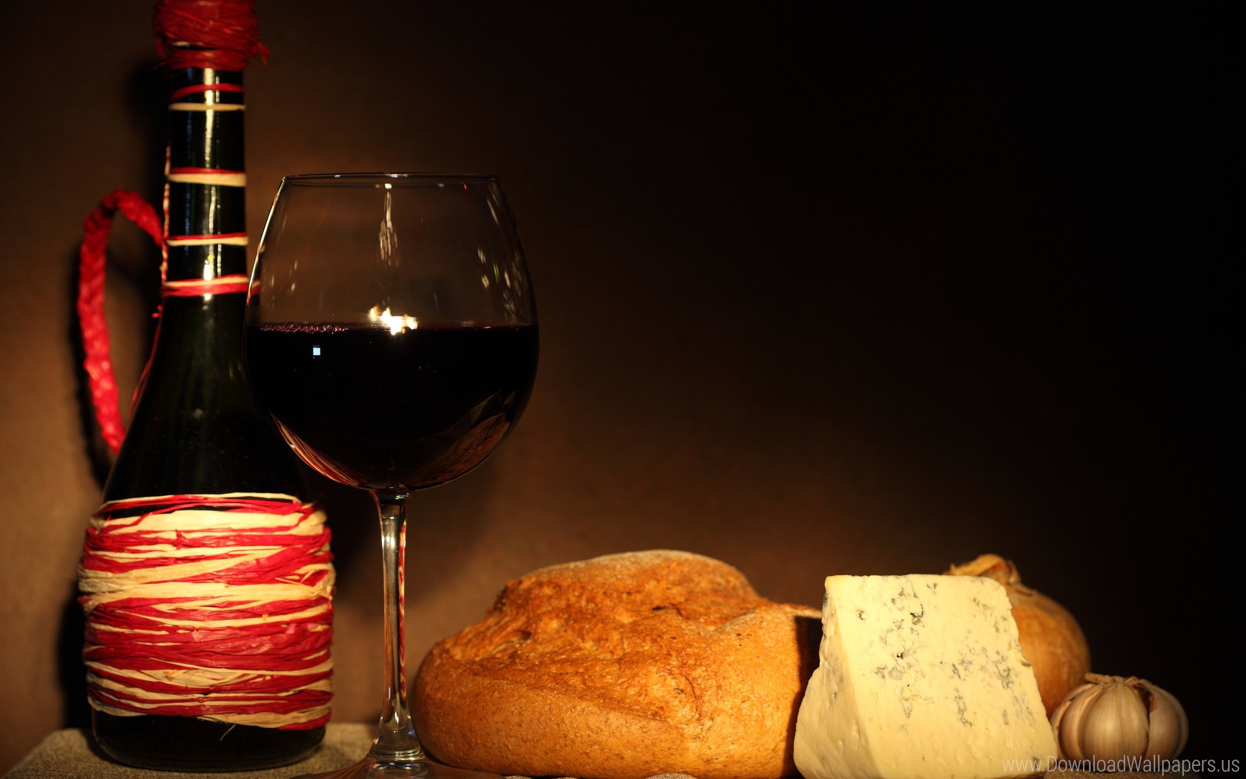 Res: 2560x1600, Download Widescreen 16:10  - Bottle, Bread, Cheese, Garlic, Glass,  Onion, Red, Wine Wallpaper