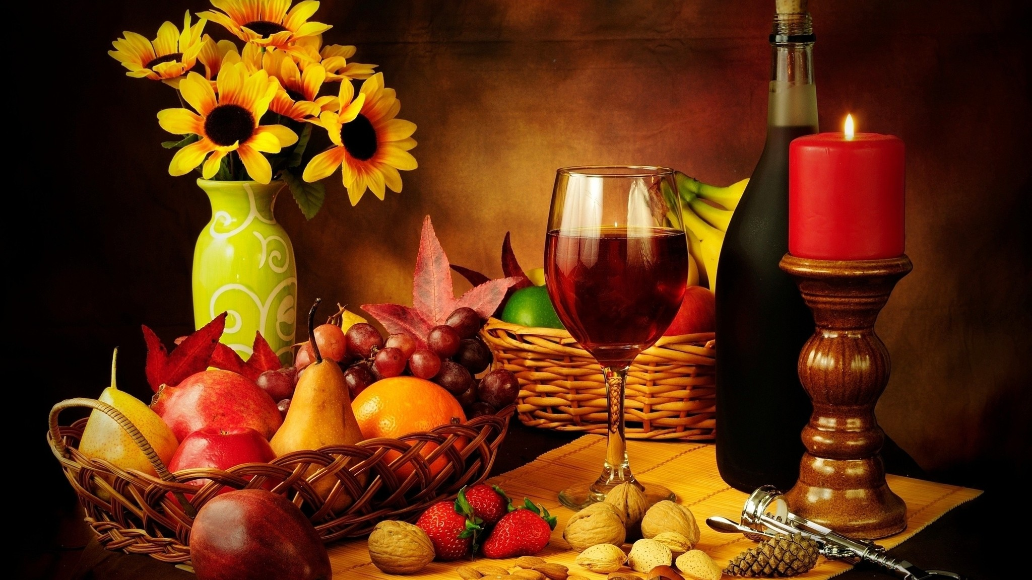 Res: 2048x1152, Description: Download Glass wine nuts strawberries candles red wine  wallpaper/desktop background in  HD & Widescreen resolution.