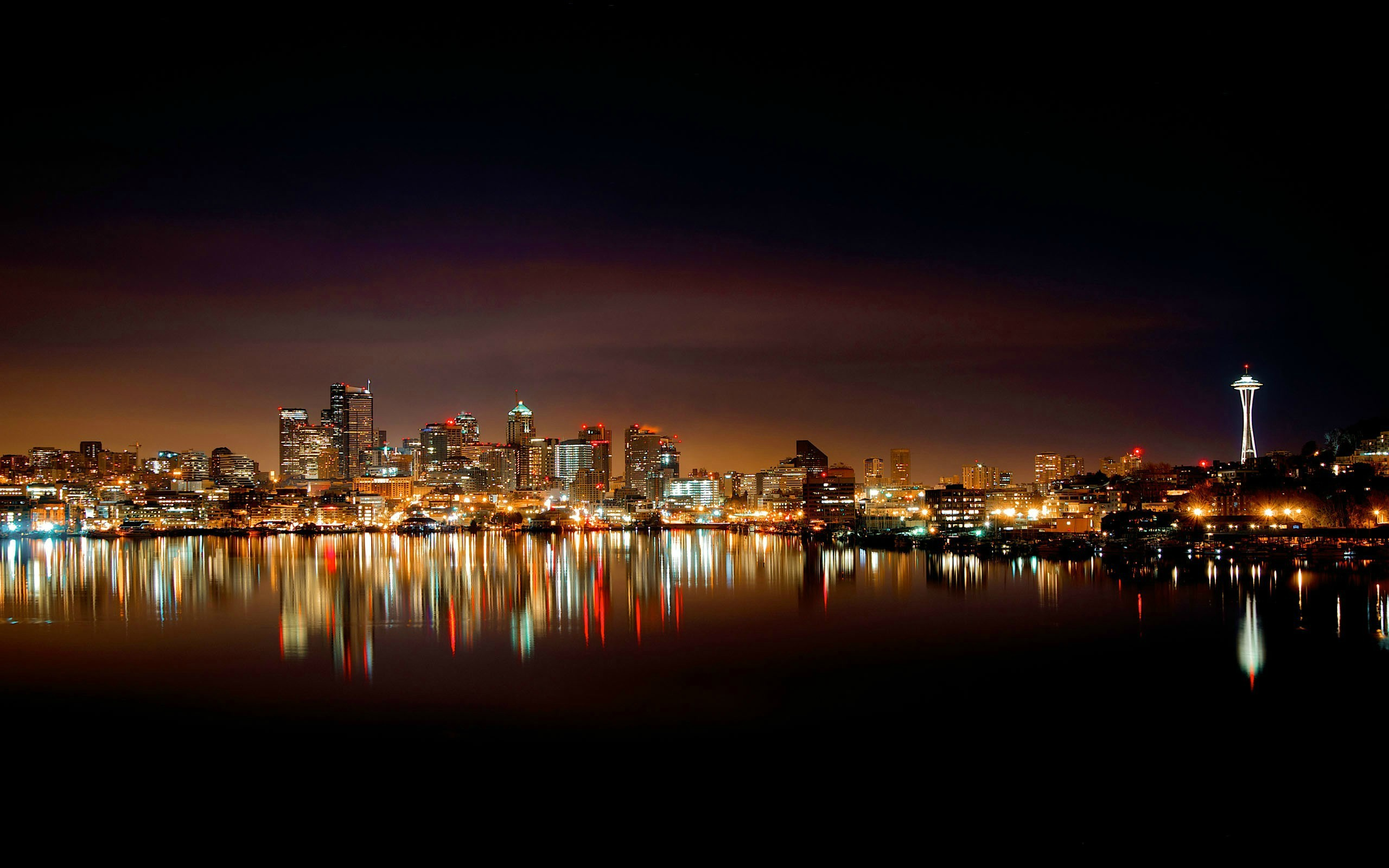 Res: 2560x1600, The Seattle skyline at night.