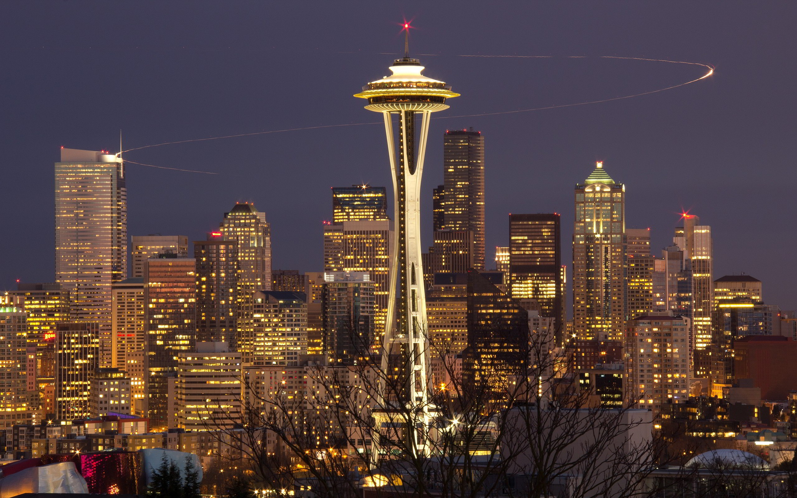 Res: 2560x1600, Seattle Skyline At Night Wallpaper