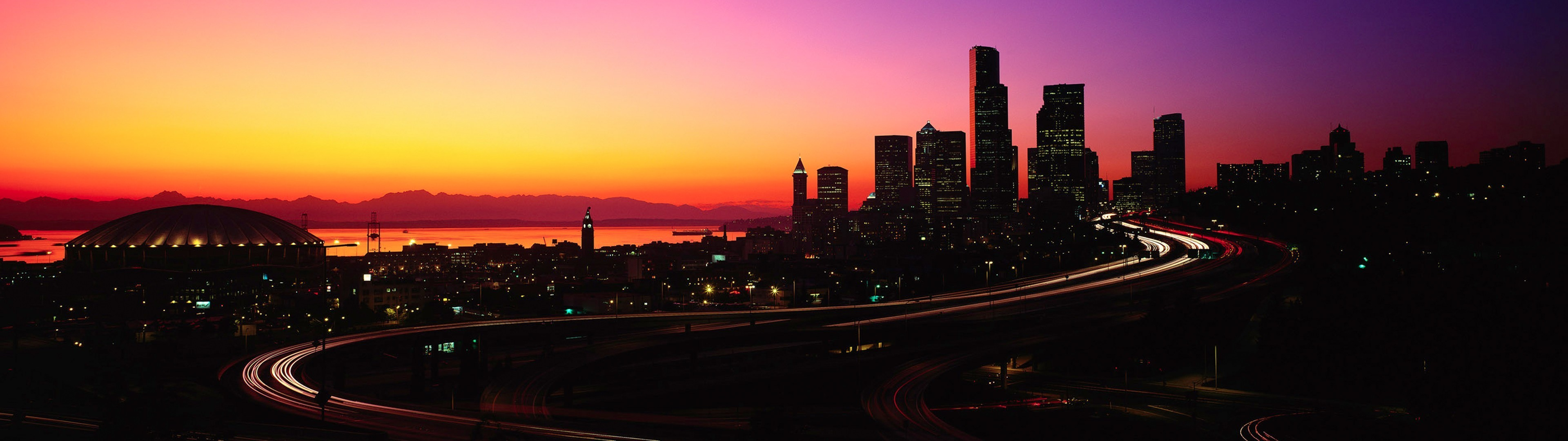Res: 3840x1080,  seattle skyline wallpaper hd colorful dual screen 6