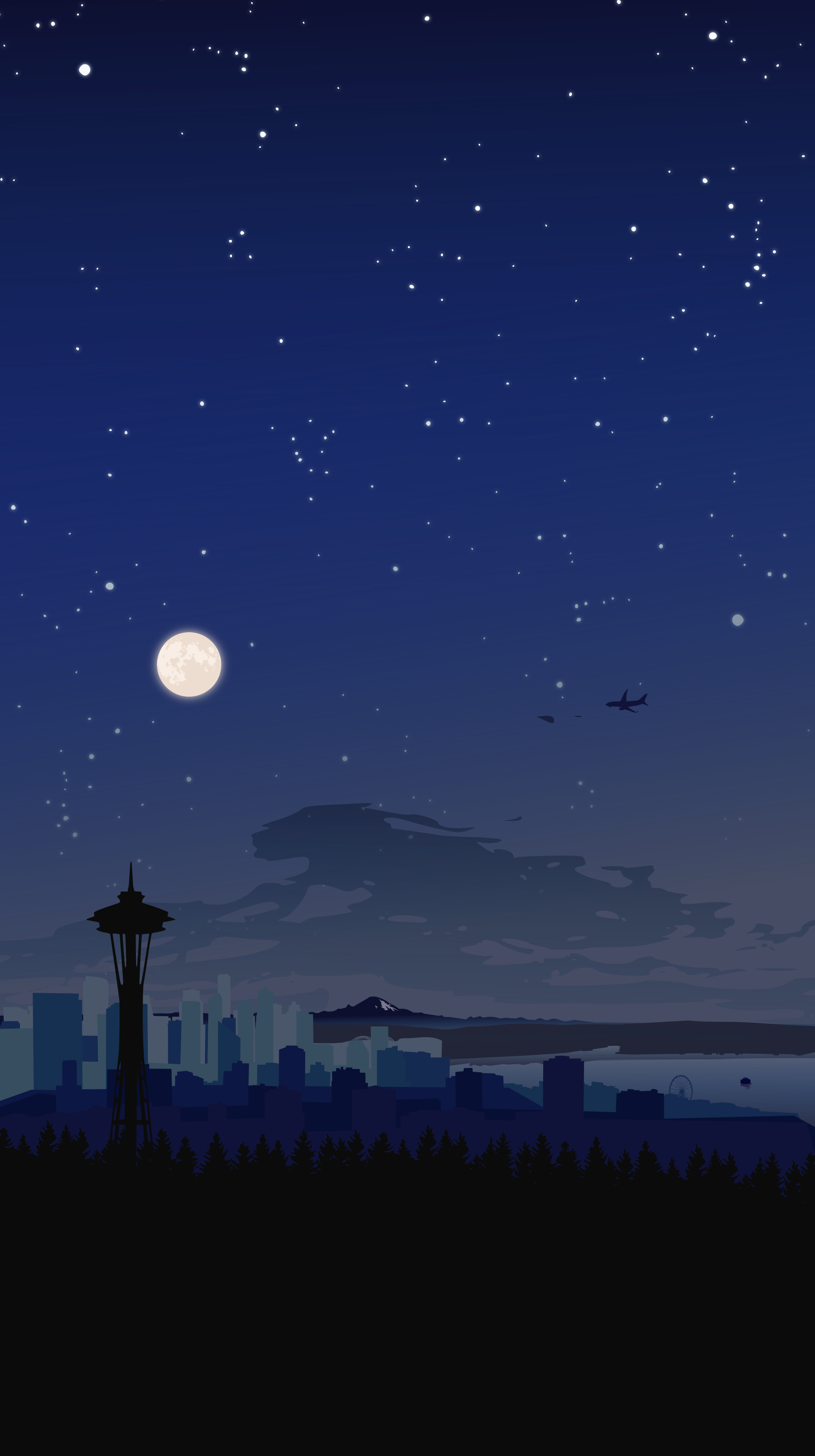 Res: 2000x3574, Night Seattle skyline wallpaper ...