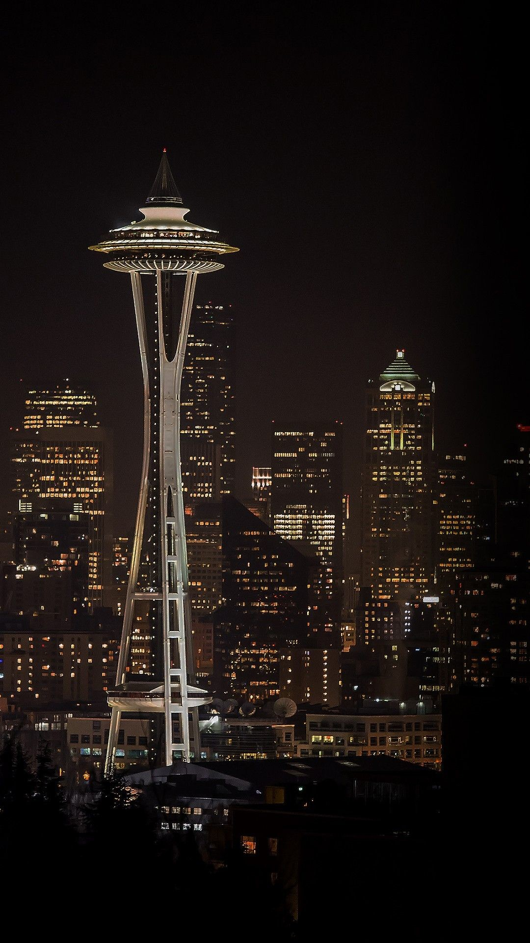 Res: 1080x1920, Seattle Space Needle Night City Skyline HD Wallpaper Check more at  https://phonewallp