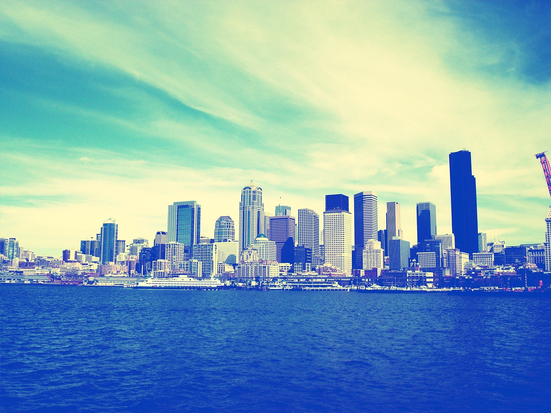 Res: 1920x1440, Cityscapes skylines Seattle buildings skyscrapers lomo blue skies wallpaper  |  | 56640 | WallpaperUP