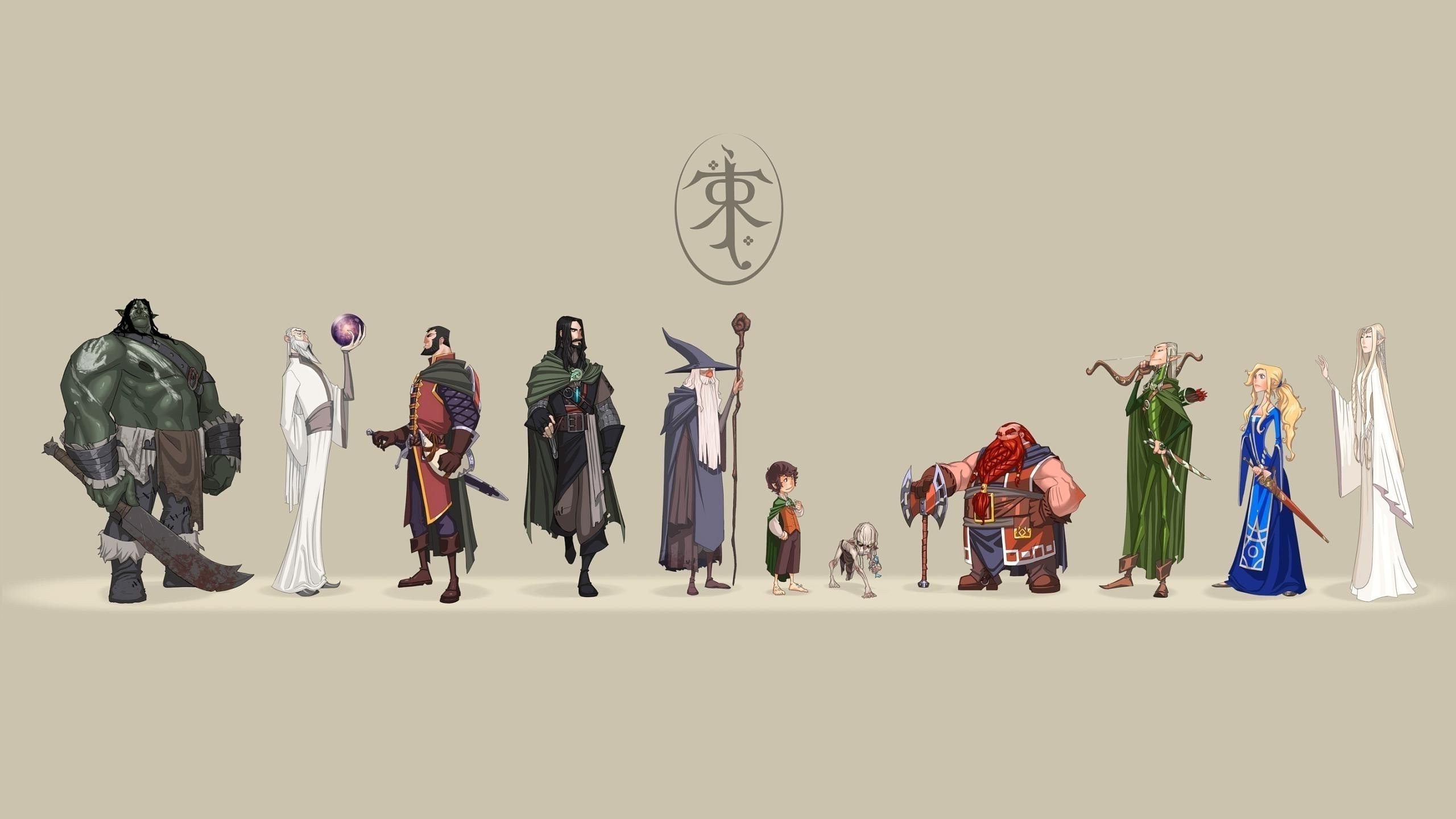 Res: 2560x1440, the lord of the rings j r r_ tolkien frodo baggins gollum gimli aragorn  saruman legolas artwork boromir galadriel wallpaper and background