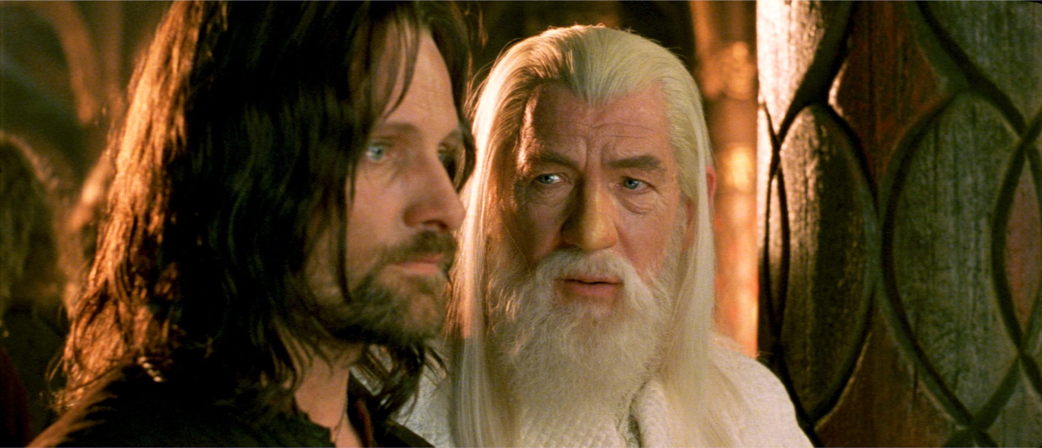 Res: 3588x1543, ... Gandalf, The Lord of the Rings, Aragorn, Viggo Mortensen, Ian Mckellen,  ...