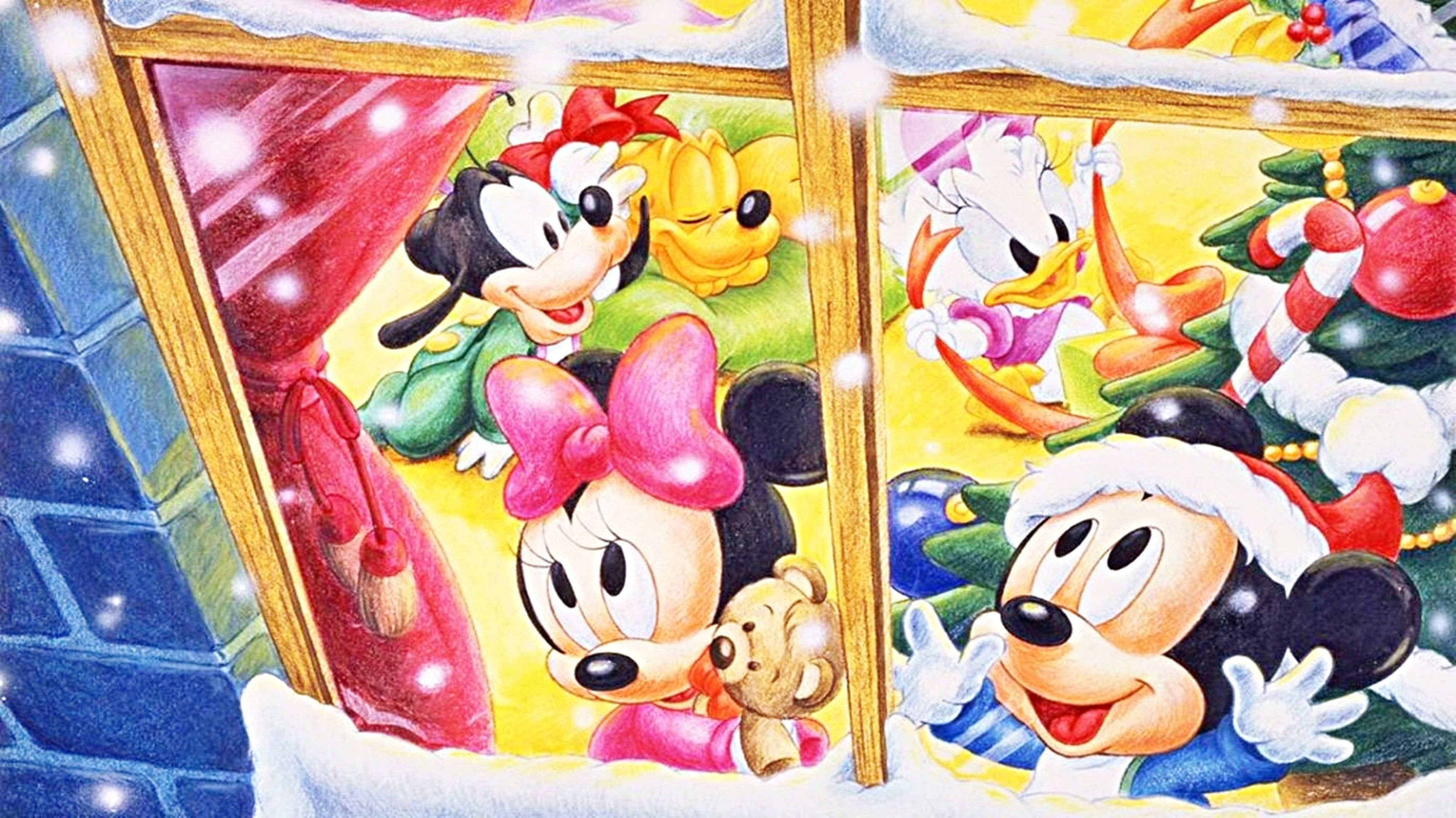 Res: 3456x1943, christmas, walt, disney, characters, high, resolution, wallpaper, for,