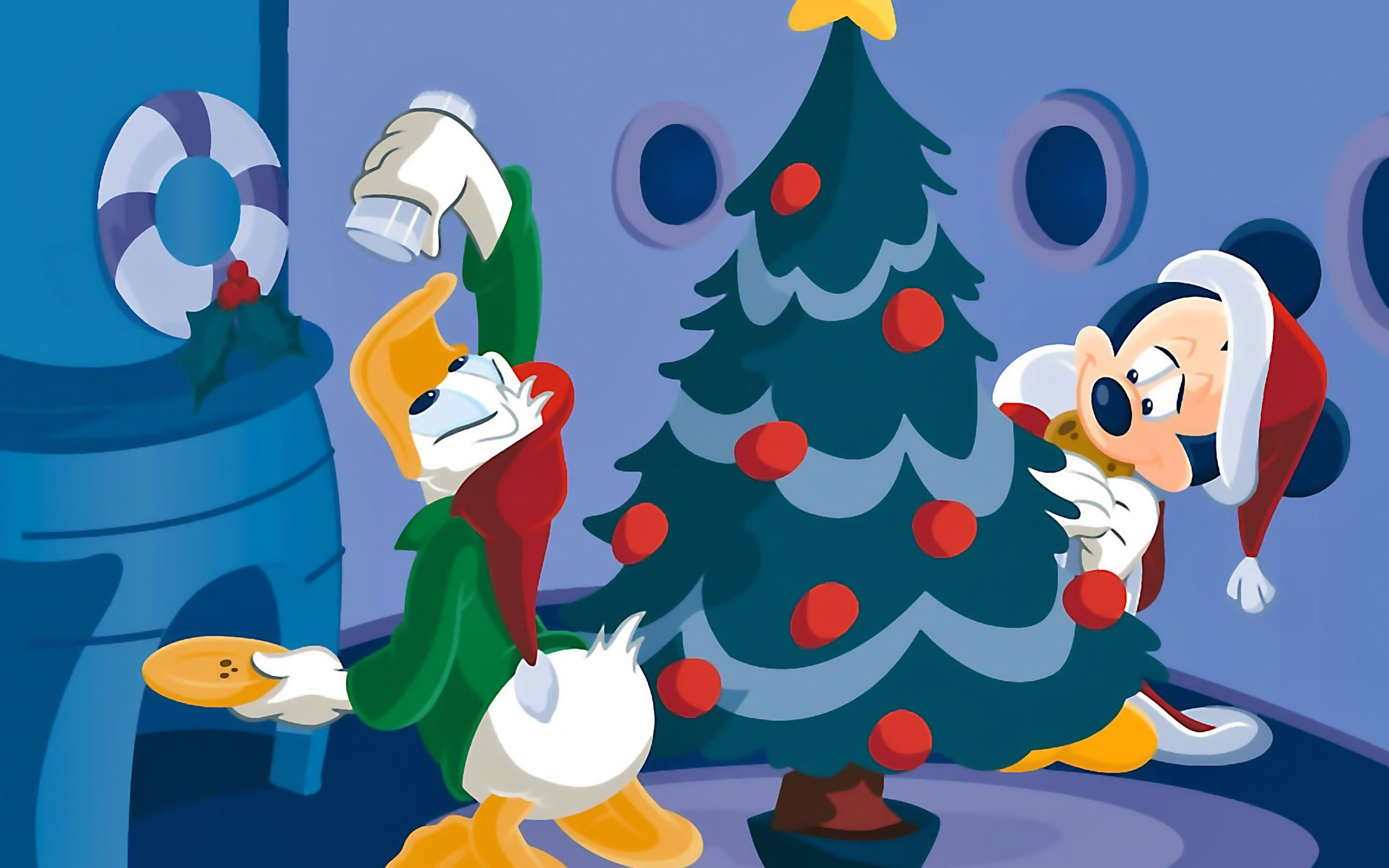 Res: 2560x1600, Disney Characters Decorating a Tree Christmas Wallpaper