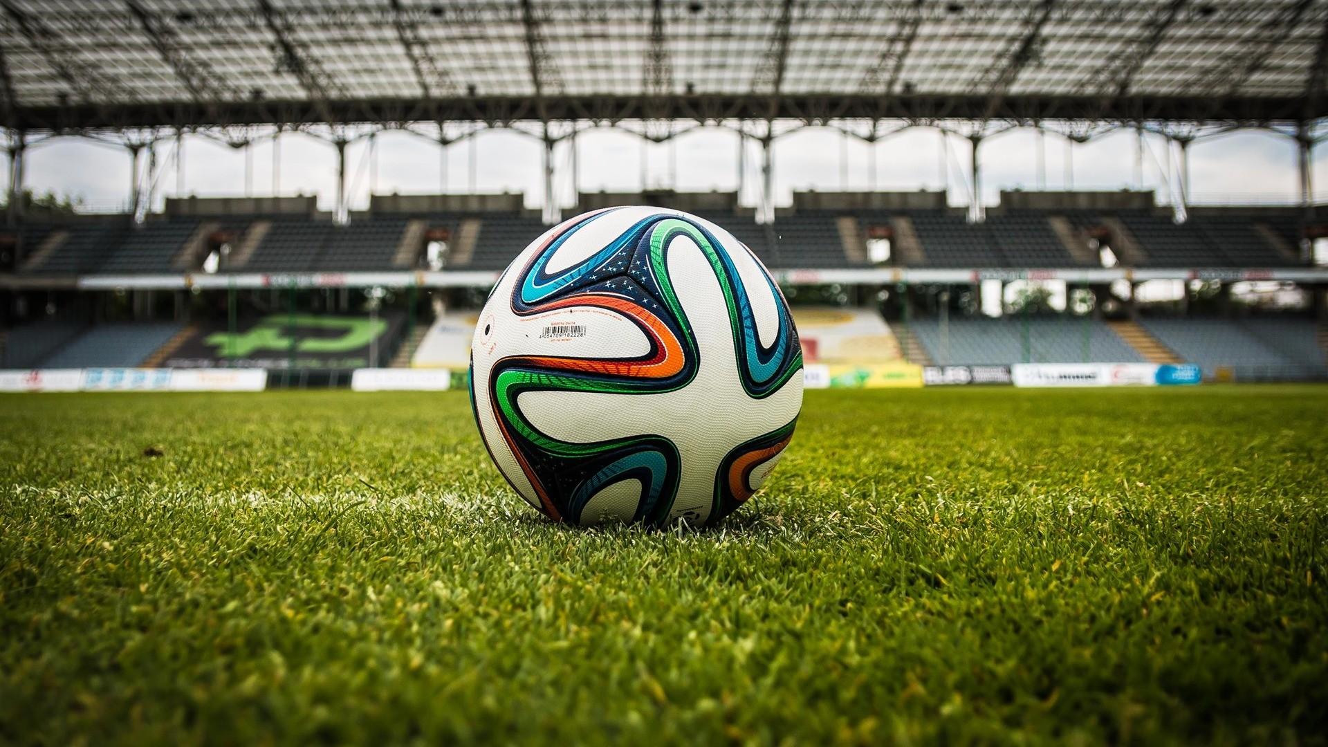 Res: 1920x1080,  Wallpaper ball, football, lawn, stadium