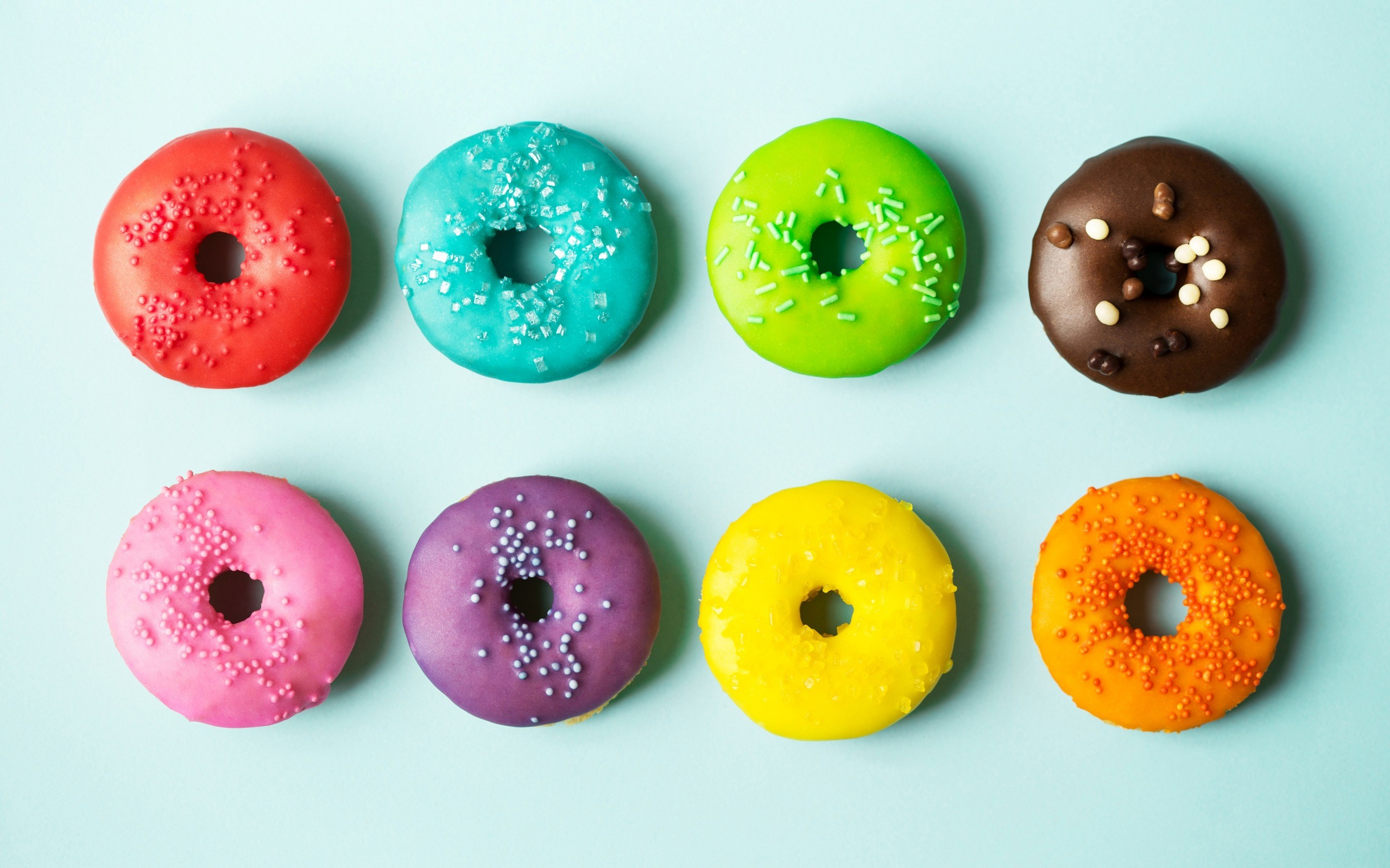 Res: 2560x1600, donuts, pastries, colorful cream, colored donuts, sweets