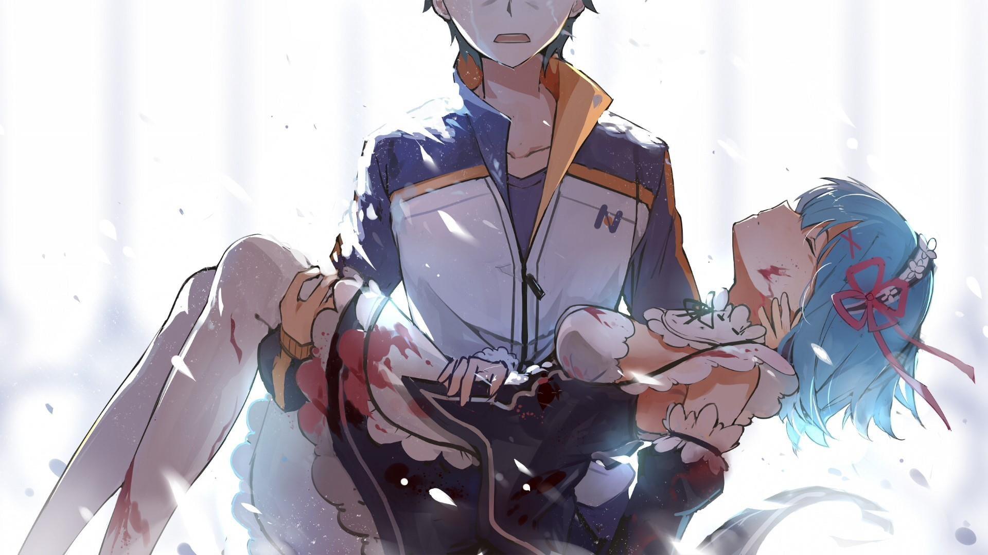 Res: 1920x1080, rem, subaru, rezero, sad, anime, otaku