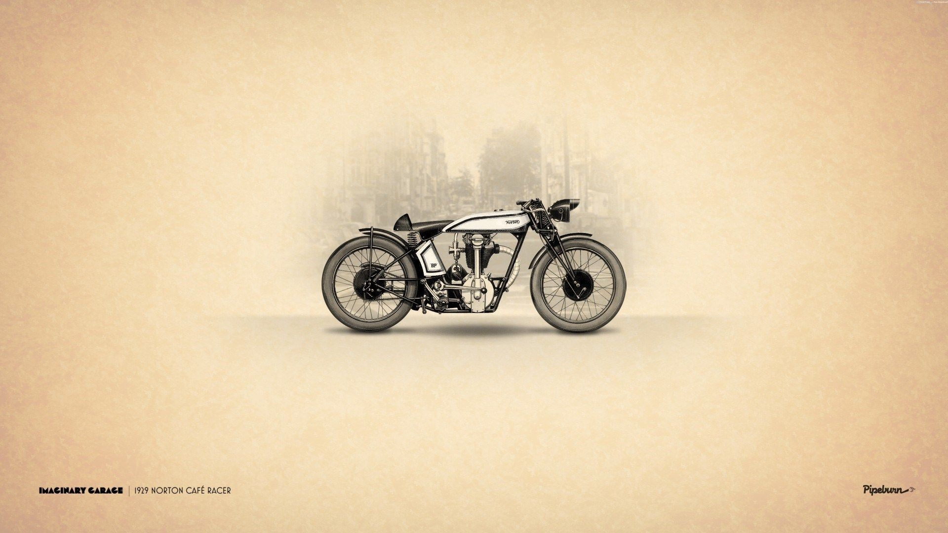 Res: 1920x1080, Vintage Motorbike Art Norton Cafe Racer HD Wallpaper - ZoomWalls