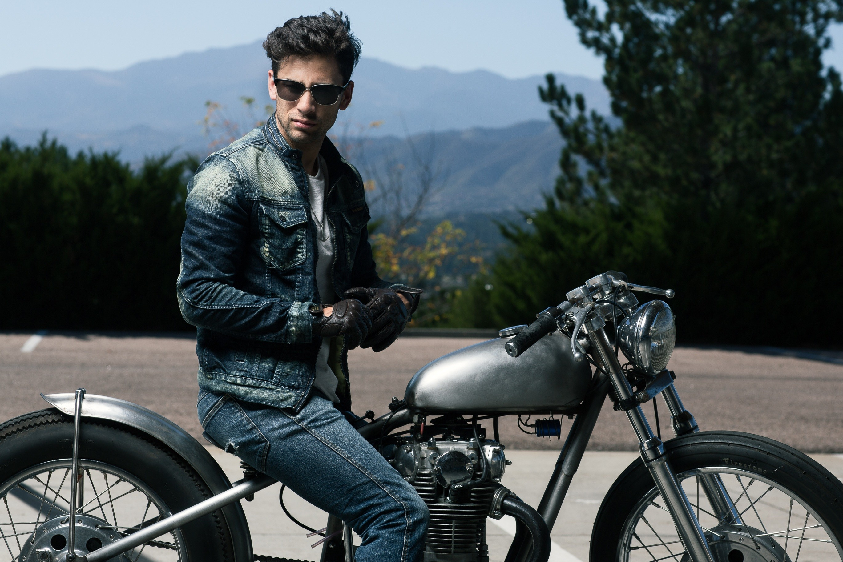 Res: 2738x1826, Model sitting on an old vintage motorbike