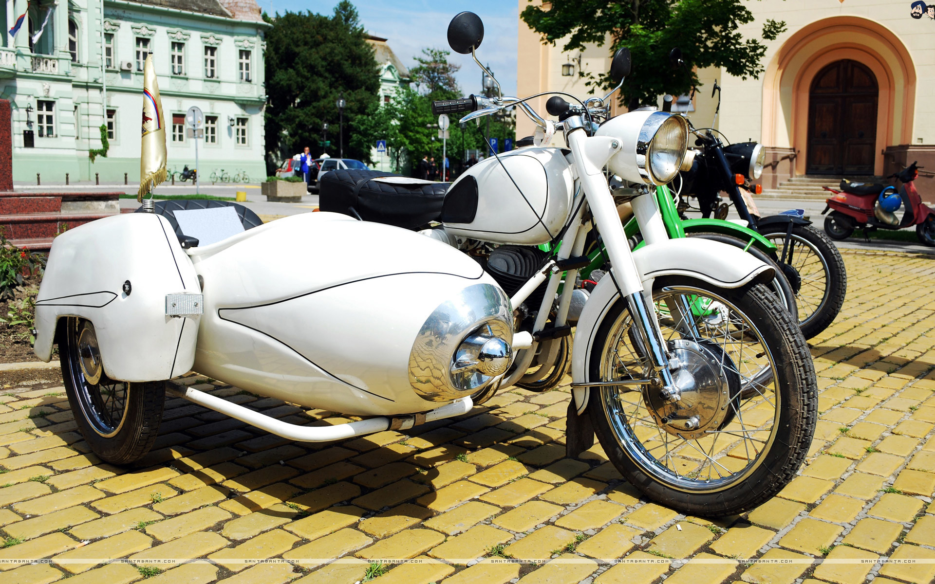 Res: 1920x1200, White Vintage Motorcycle with Sidecar.