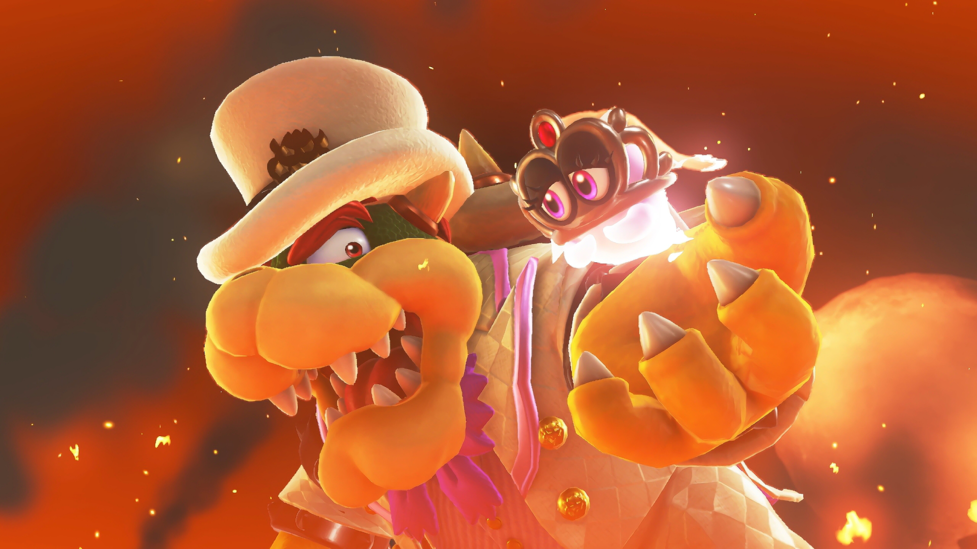 Res: 3840x2160, Super Mario Odyssey Bowser & Tiara Wallpaper
