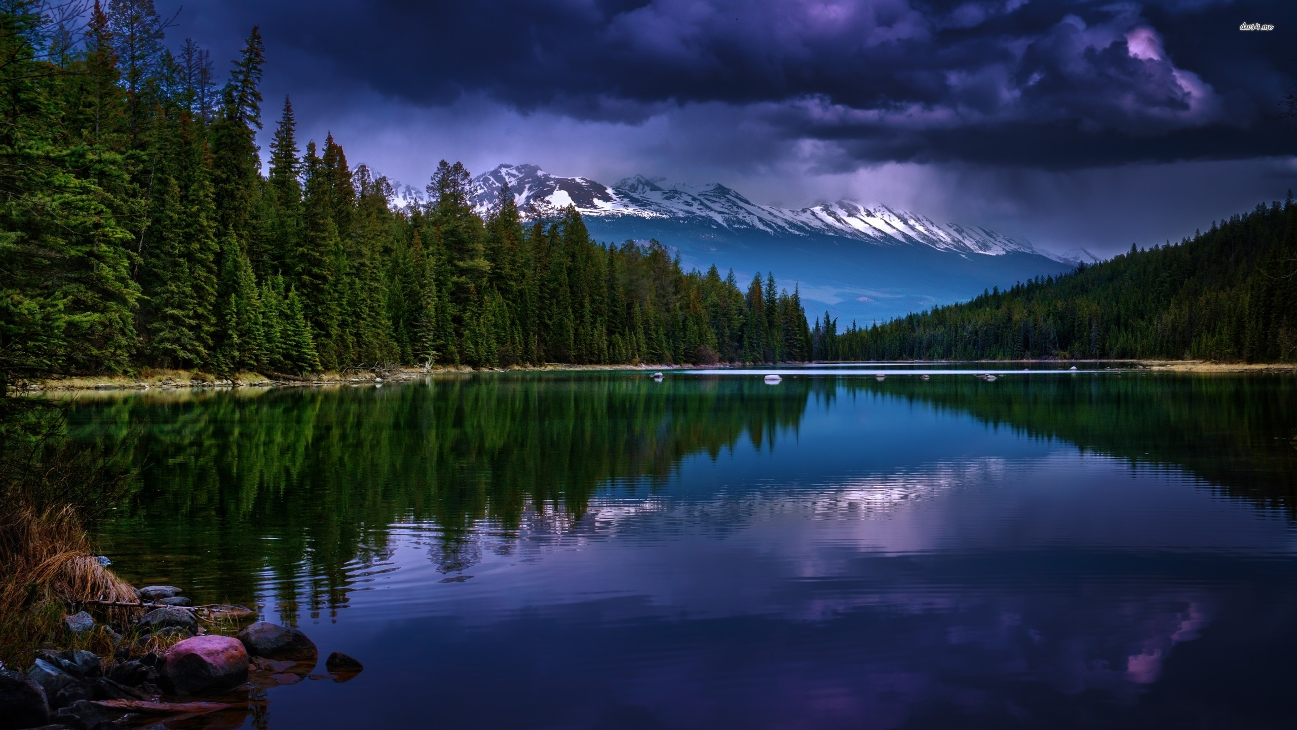 Res: 2560x1440, ... Stormy clouds above the peaceful mountain lake wallpaper  ...