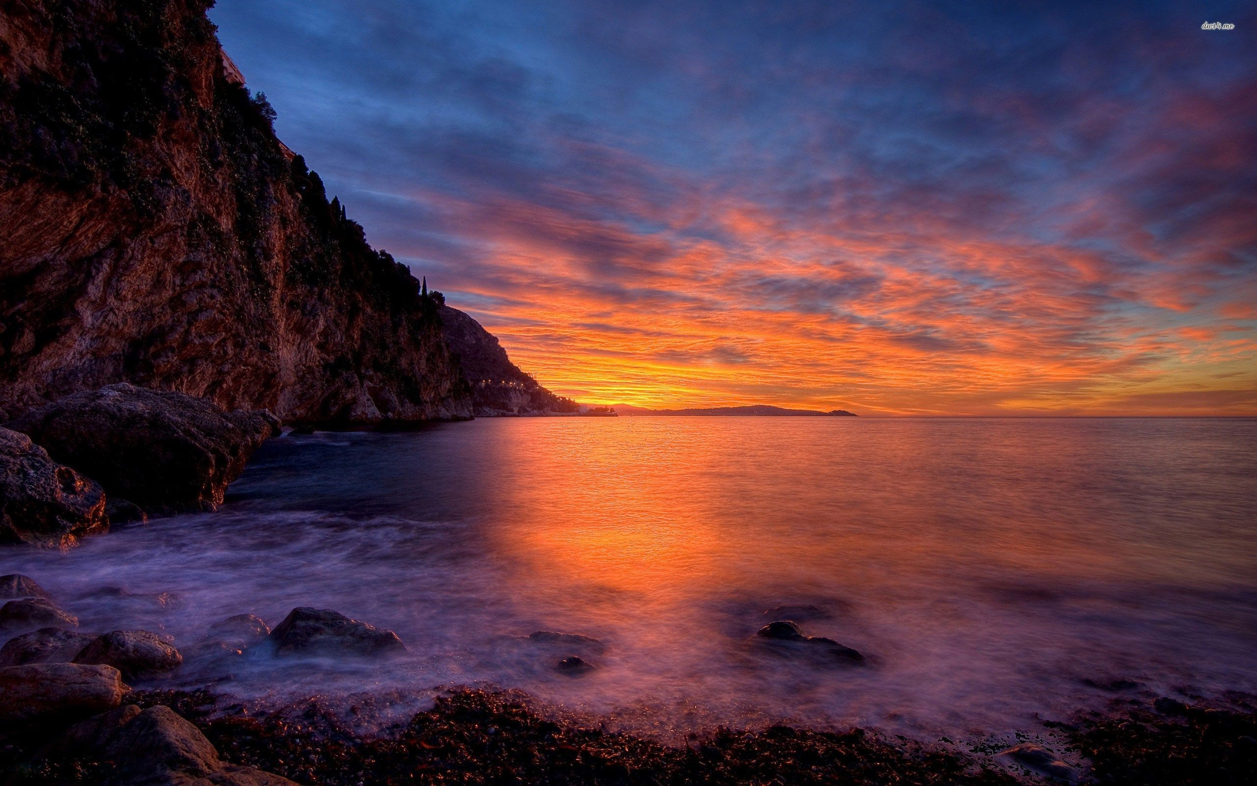 Res: 2560x1600, ... Peaceful ocean and the cloudy sunset sky by the rocky shore wallpaper   ...