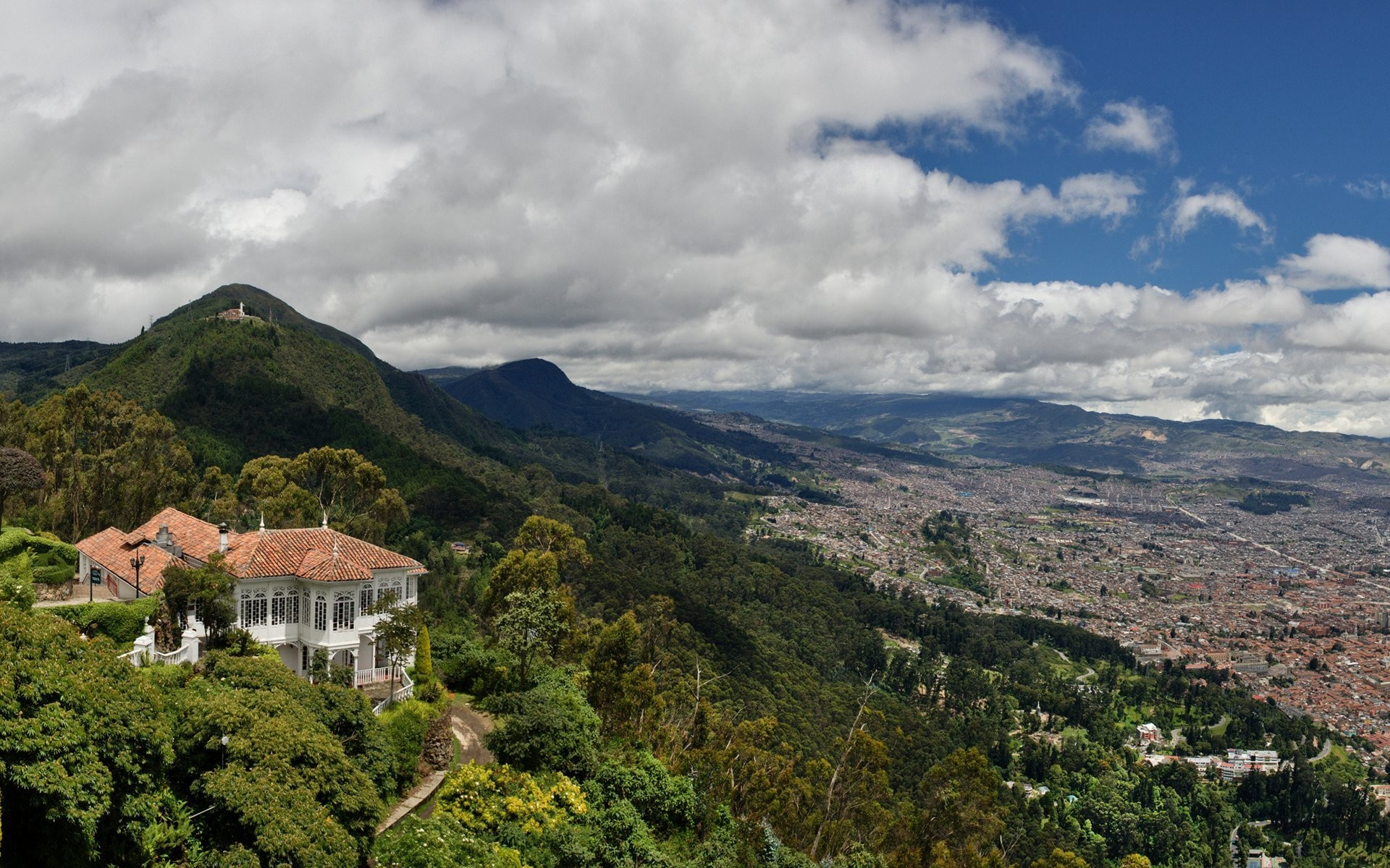 Res: 1920x1200, bogota colombia sky clouds mountain town valley house villa