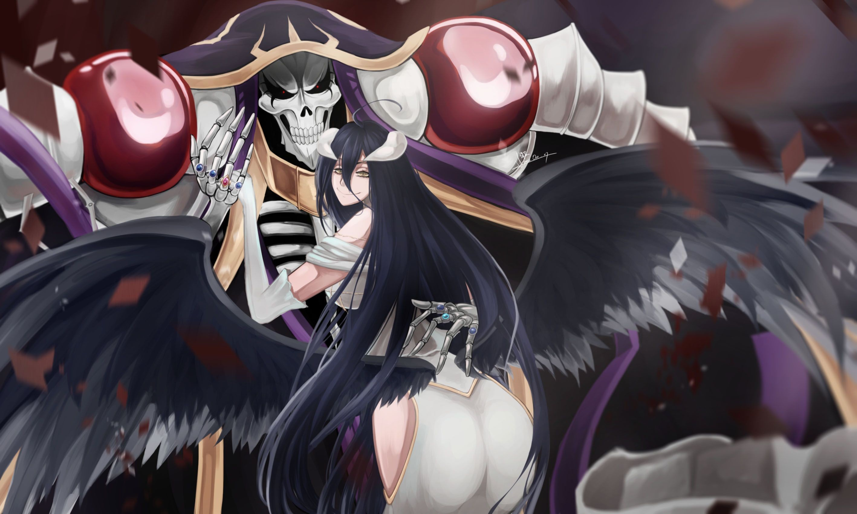 Res: 2835x1701, Anime Overlord Overlord Albedo Ainz Ooal Gown Wallpaper
