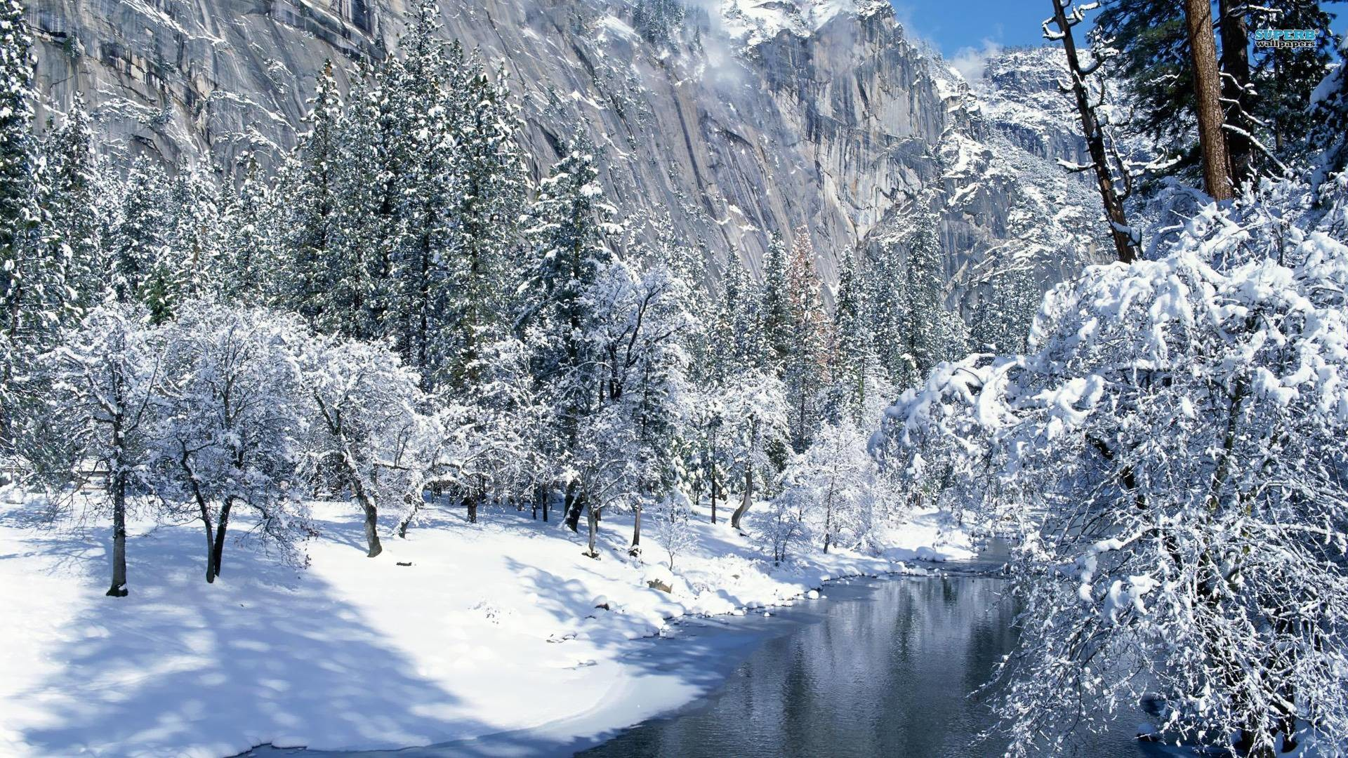 Res: 1920x1080, Creek in the snowy mountains wallpaper - Nature wallpapers - #