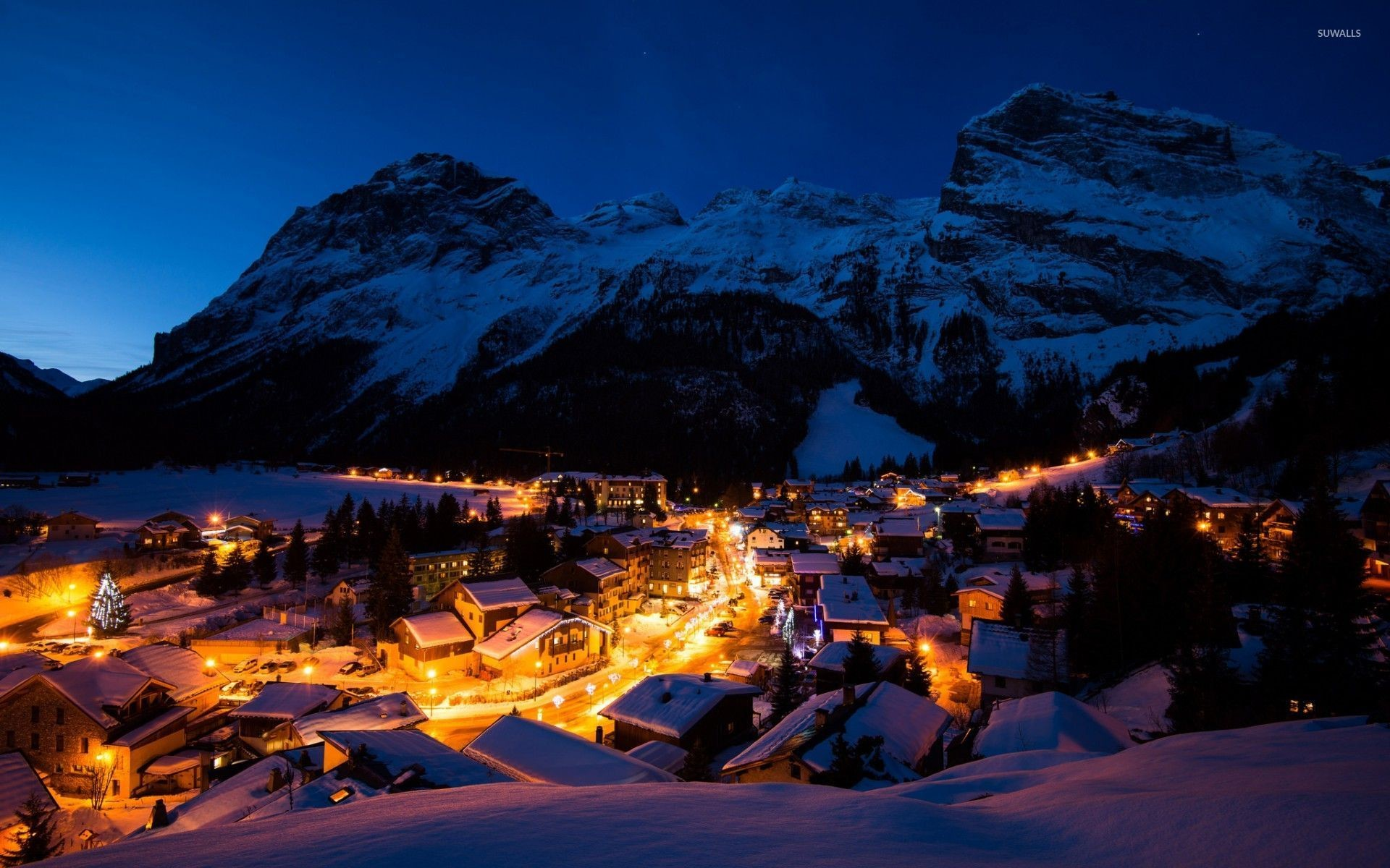 Res: 1920x1200, Night lights in the snowy mountain town wallpaper
