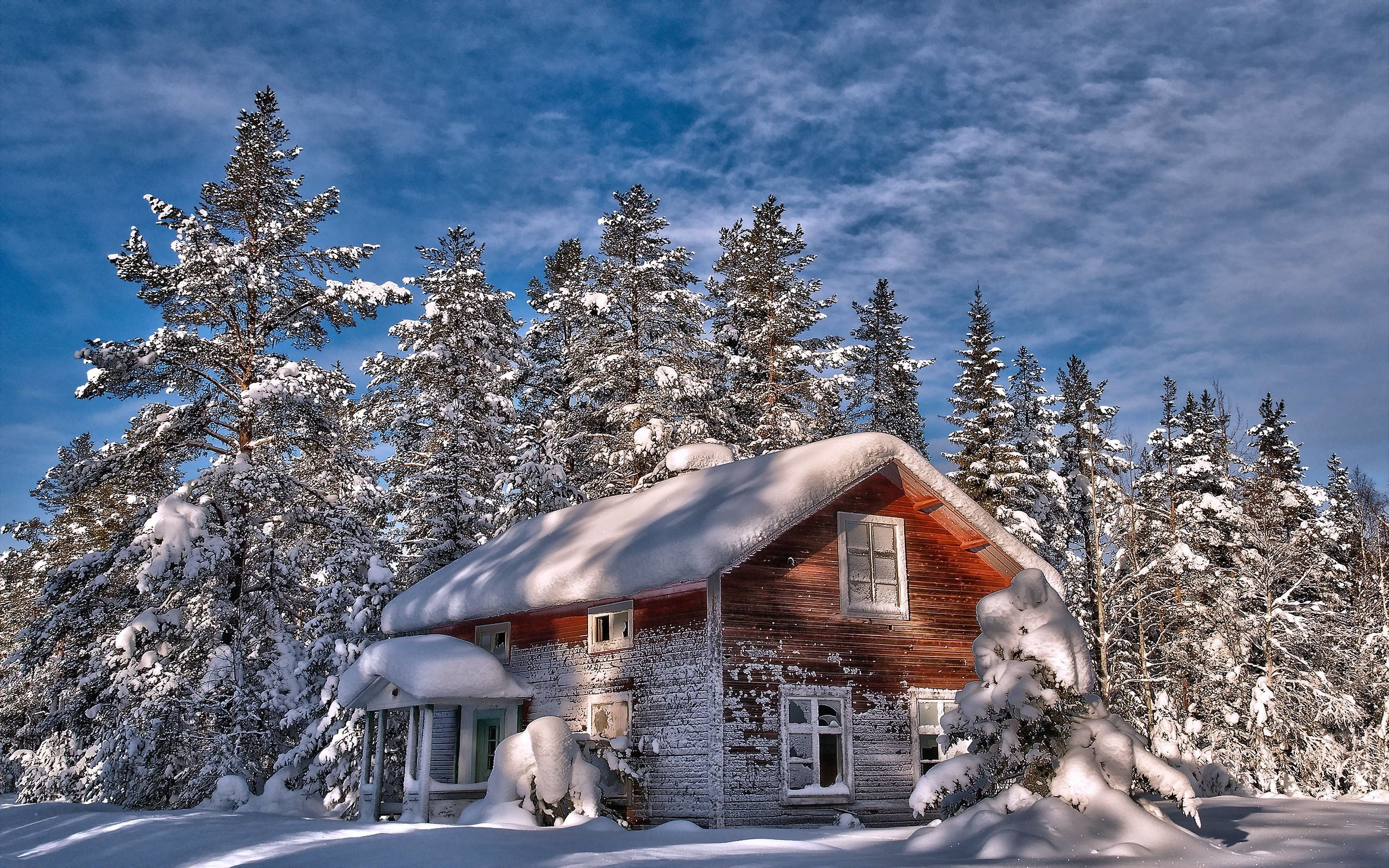 Res: 3000x1875, Snowy Cottage Wallpaper 5 - 3000 X 1875