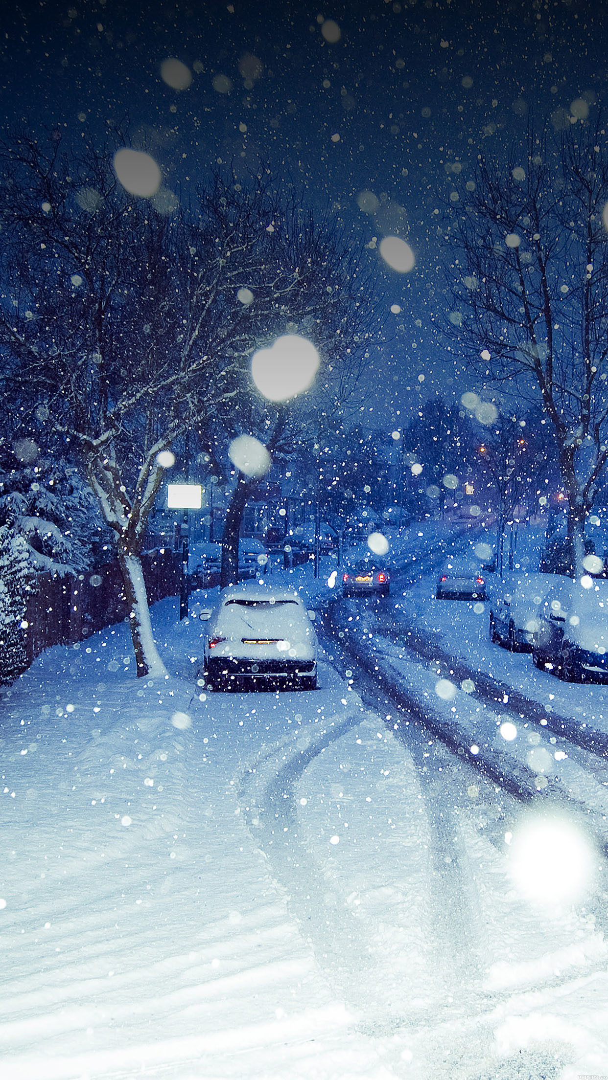 Res: 1242x2208, ma94-snowy-blue-road-winter-nature
