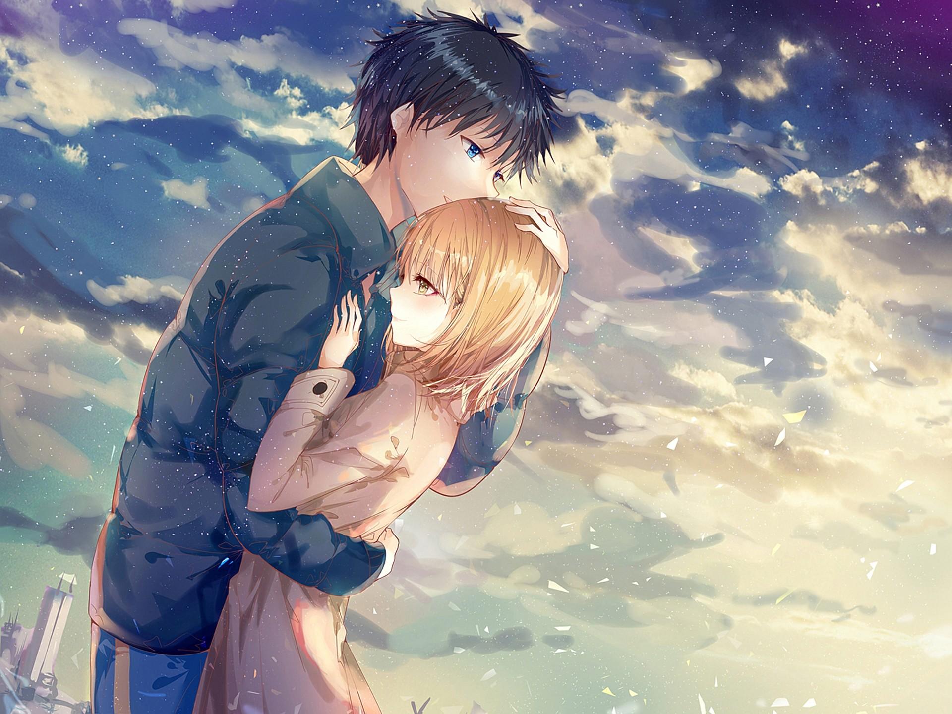 Res: 1920x1440, Anime Couple, Hug, Romance, Clouds, Scenic