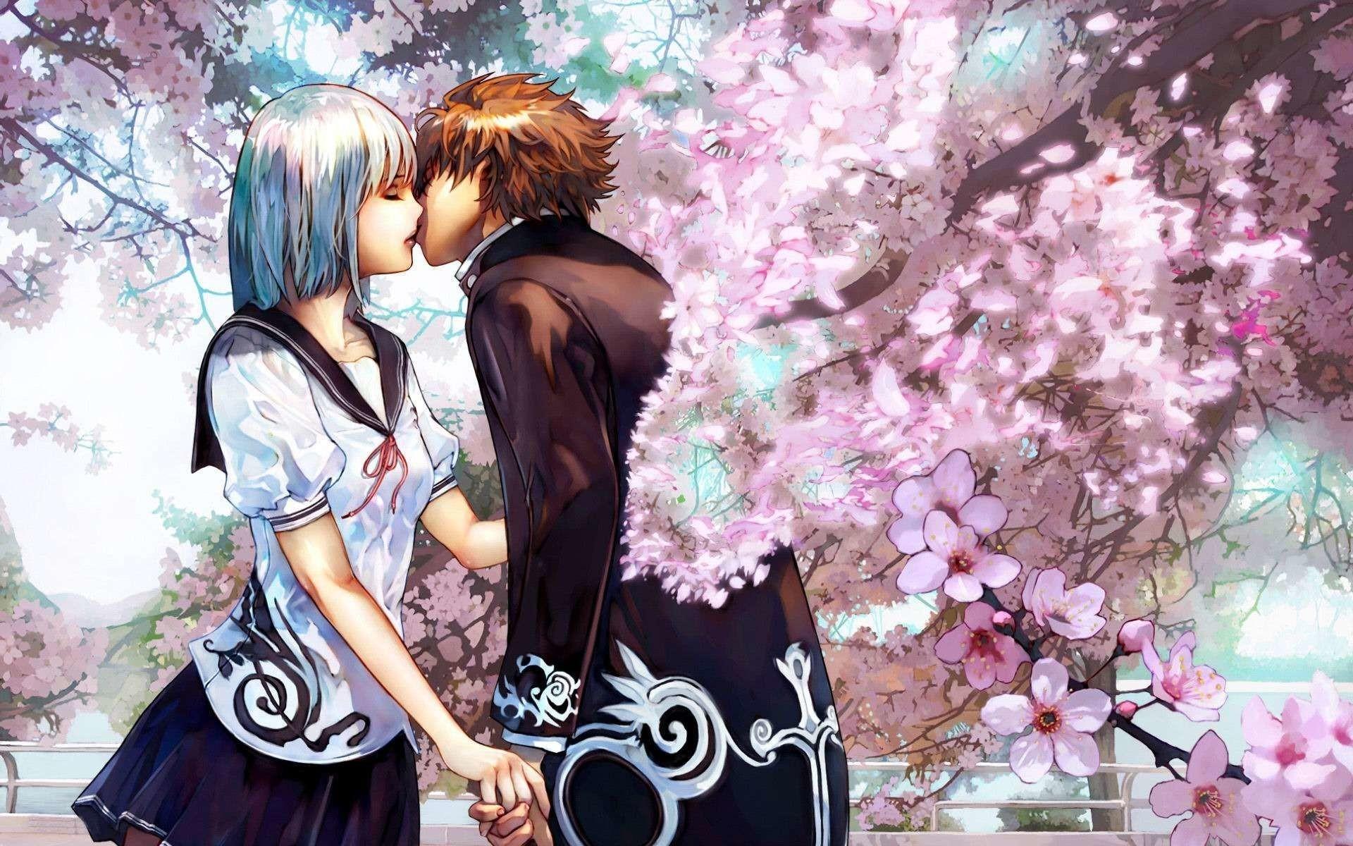 Res: 1920x1200,  Cute Anime Couple Kiss HD Wallpaper