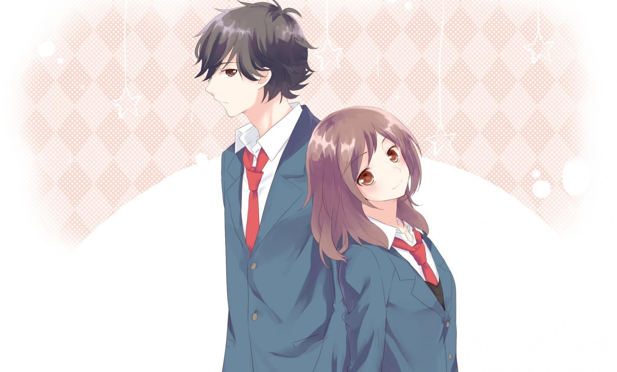 Res: 2039x1231, Ao Haru Ride, Mabuchi Kou, Yoshioka Futaba, School Uniforms, Anime Couple