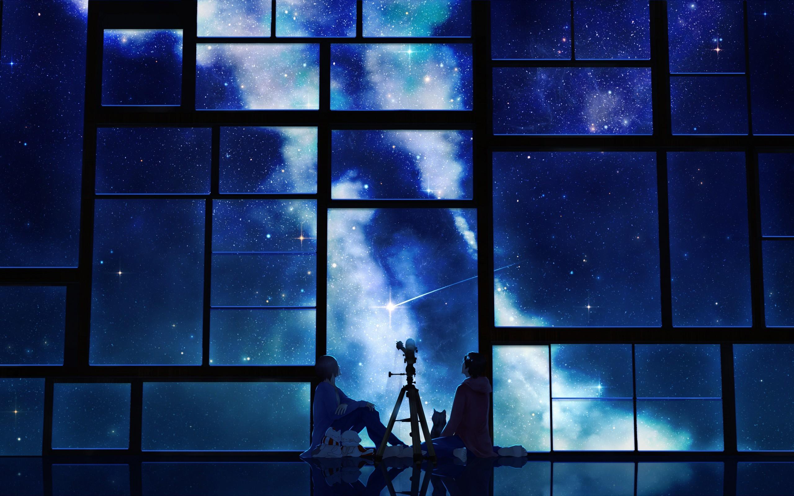 Res: 2560x1600, Telescope Night Anime Couple Watching Through Window Wallpaper 00496