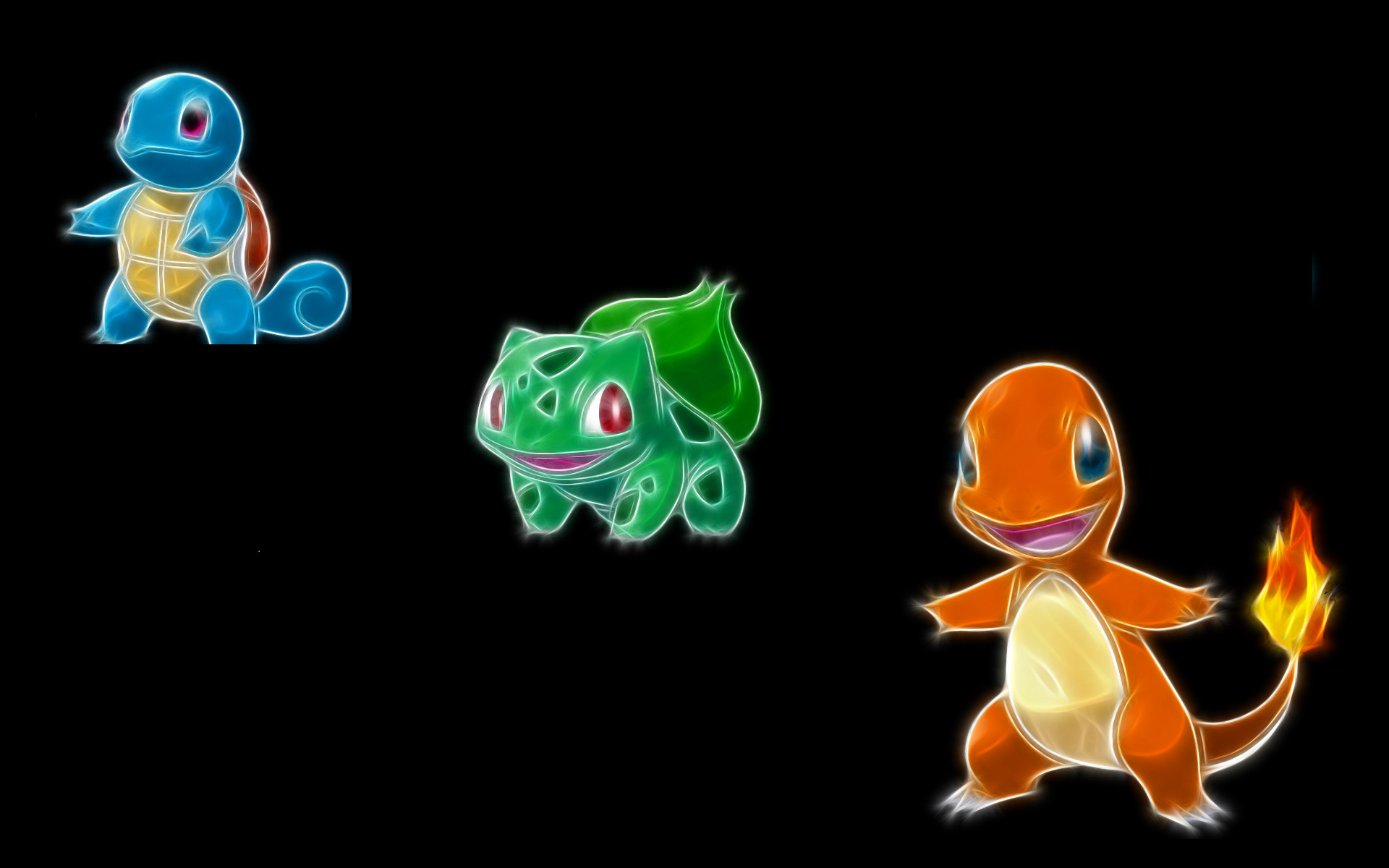 Res: 1920x1200, Pokemon, Bulbasaur, Squirtle, Charmander, black background - Free Wallpaper  / WallpaperJam.com